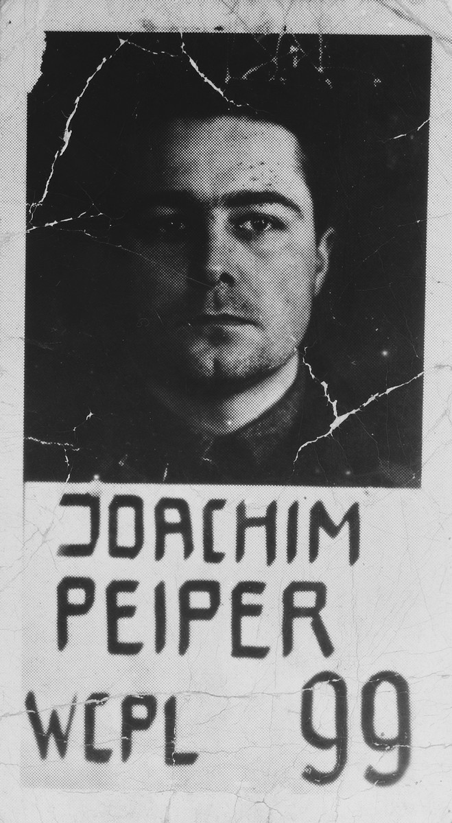 Mugshot of Colonel Joachim Peiper, a defendant in the Malmedy  Atrocity trial.