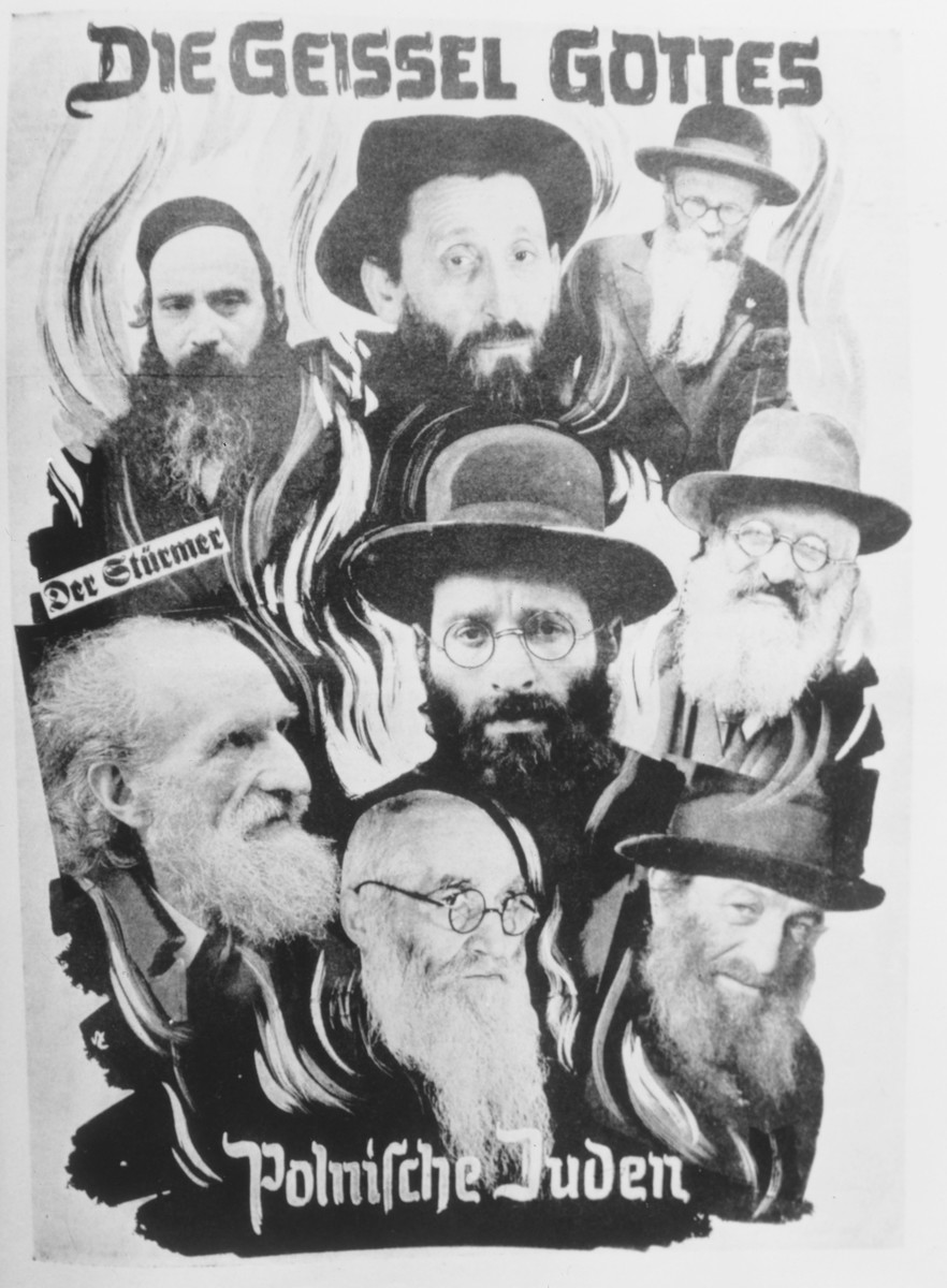 """An anti-Semitic photomontage entitled, """"The Scourge of God, Polish Jews,"""" that was used as a title page for a brochure issued by Der Stuermer.    This image was presented as evidence at the Nuremberg trials."""
