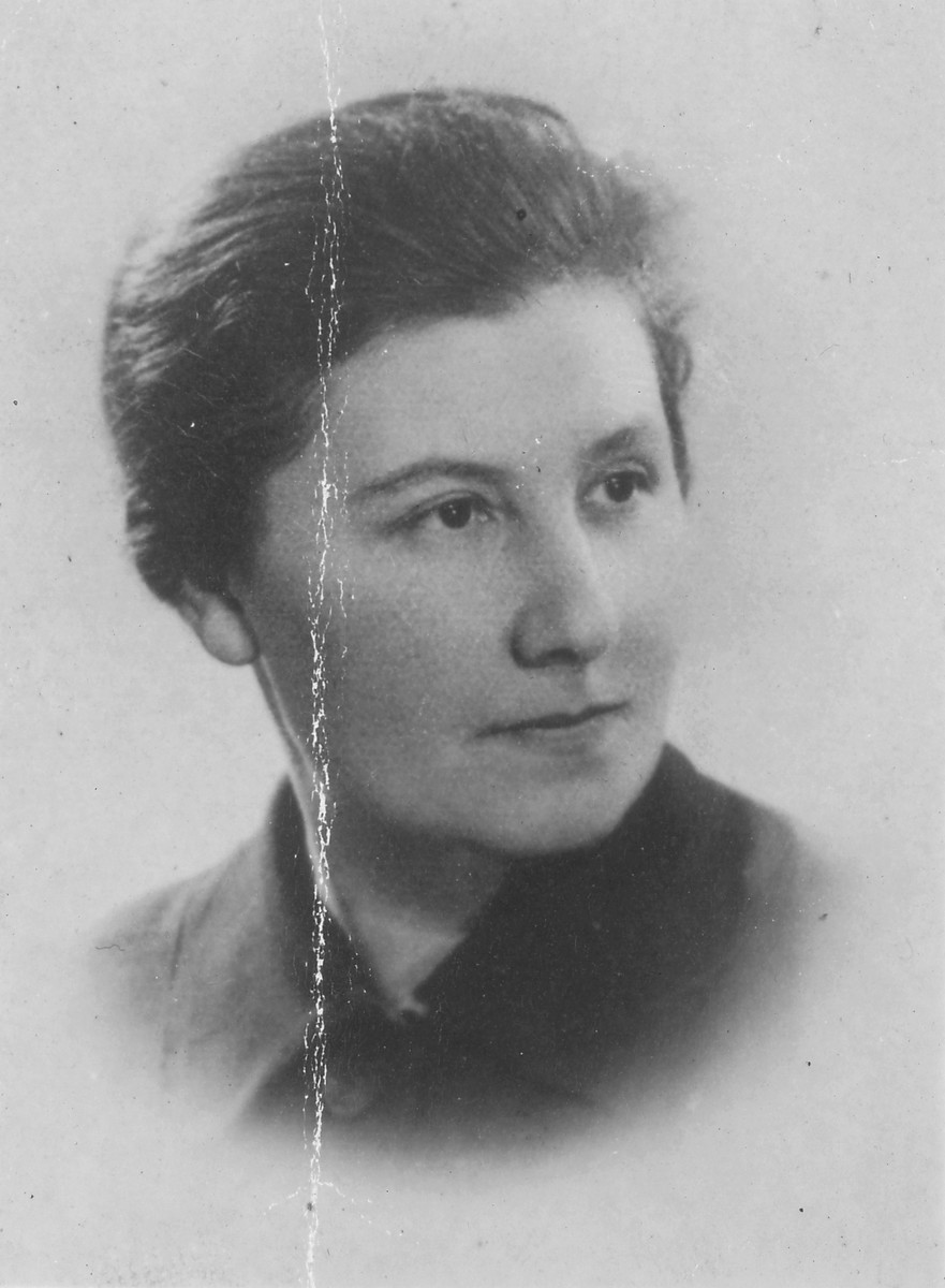 A portrait of Dr. Helena Szefner.  Helena Aszkenazy Szefner taught in the underground high schools in the Warsaw ghetto, worked in the Szulc factory, escaped to the Aryan side and eventually joined her husband, Boruch Szefner, in New York after the war.