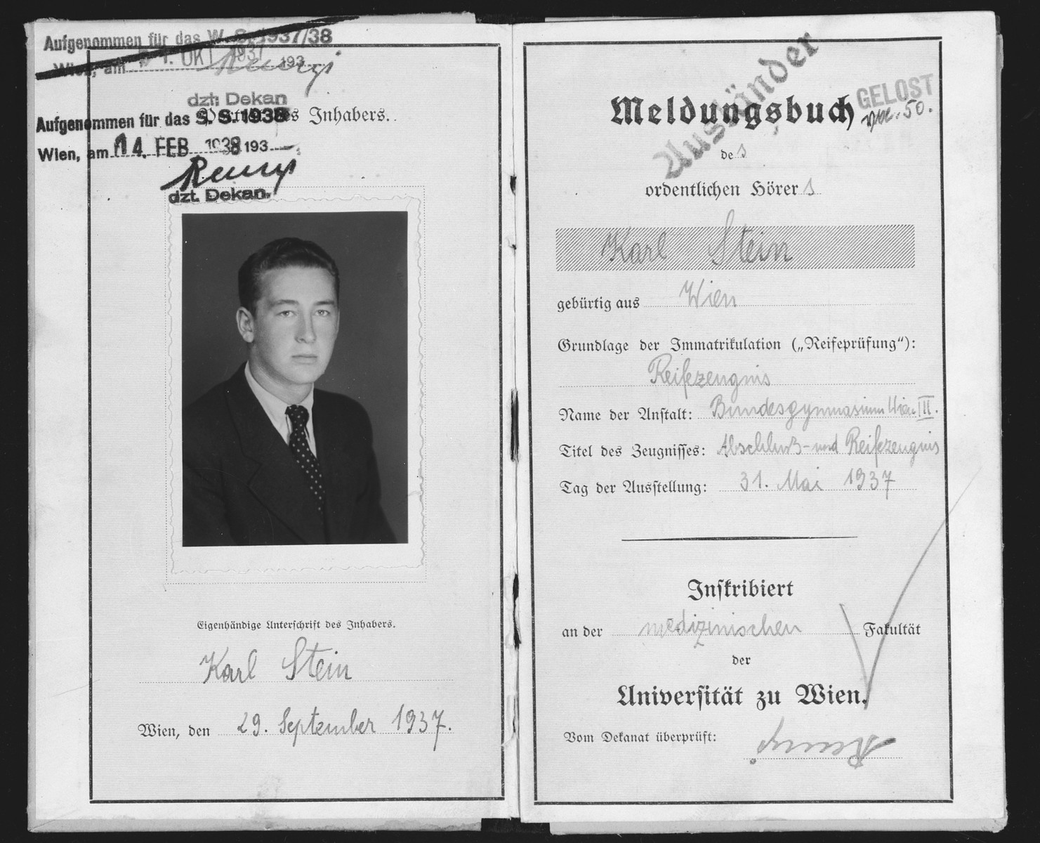 Identification card with photograph from the University of Vienna issued to a Jewish student, Karl Stein.  One month after it was stamped, the card was revoked because of Karl's Jewish heritage.