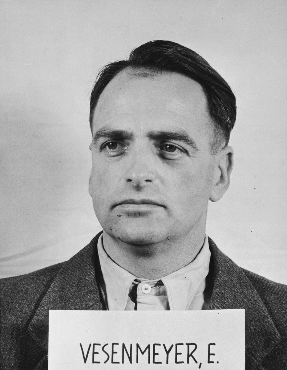 Mug shot of Edmund Vesenmeyer [sic], the former Nazi governor of Hungary.