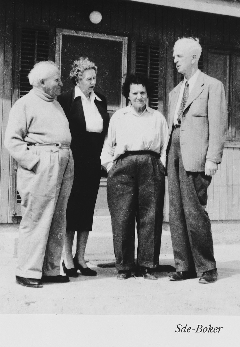Ambassador James Grover McDonald and his wife visit Israeli Prime Minister David Ben-Gurion and his wife Pola at their home in Sde Boker.