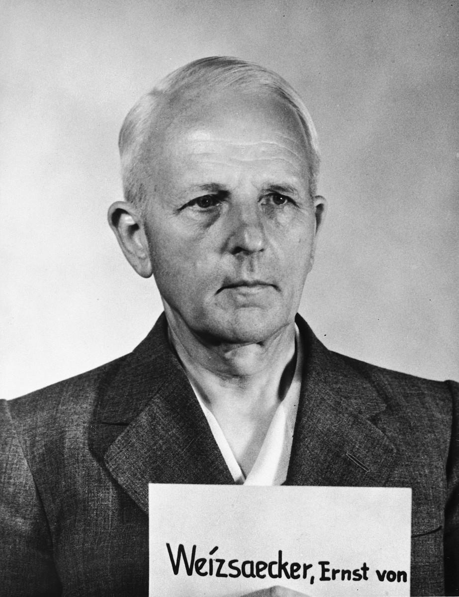Mugshot of Nazi defendant Ernst von Weizsaecker, the principal defendant of the Ministries Trial.
