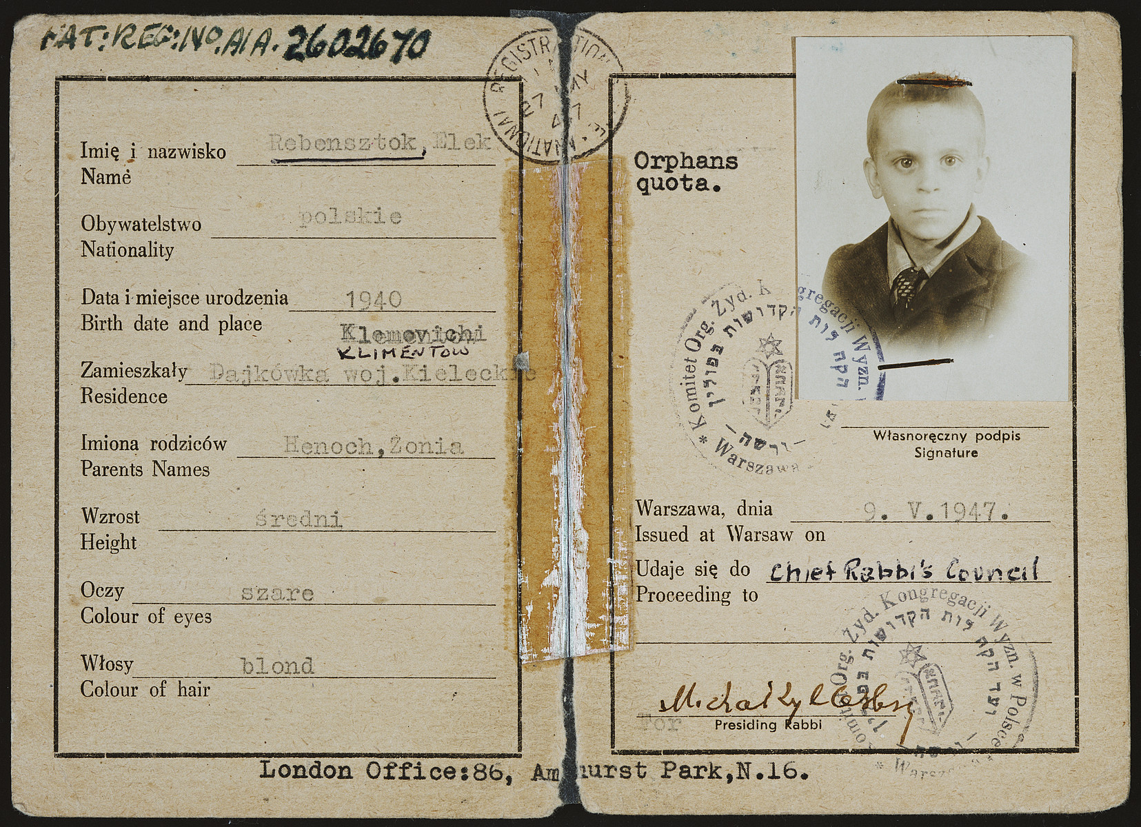 "Identification card issued to Elek Rebensztok by the Central Council of Jewish Congregations of Poland and stamped by British immigration authorities allowing him to provisionally enter the country under the orphans' quota.  The conditions listed on the back side read, ""The holder is permitted to land at Leith subject to the following condition namely that he/she registers at once with the police on attaining the age of sixteen years, that he/she does not enter any employment without consent of the Ministry of Labour and National Services and that he/she emigrate from the United Kingdom at the earliest opportunity."