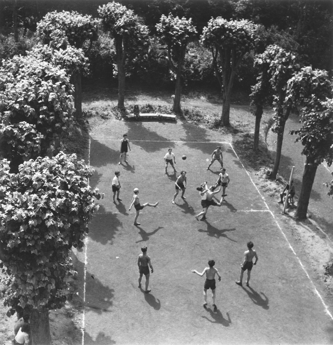 Children play ball in Gournay-sur-Marne, an OSE kinesthetic institute for children with bone deformations.