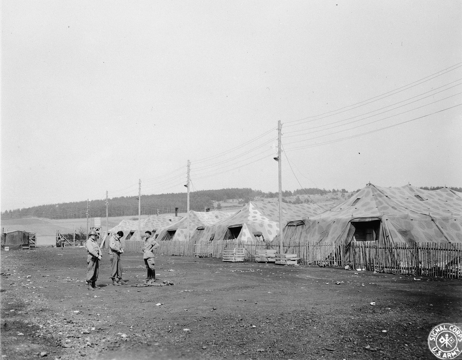 A view of the prisoners' tents at Arnstadt concentration camp.