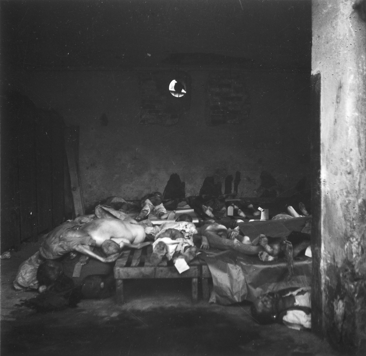 "View inside a shed used as a morgue in the Warsaw ghetto cemetery.  Joest's original caption reads: ""Some carts had already been unloaded and the dead lay upon wooden slats.  Some, but not all, had name tags on their feet."""