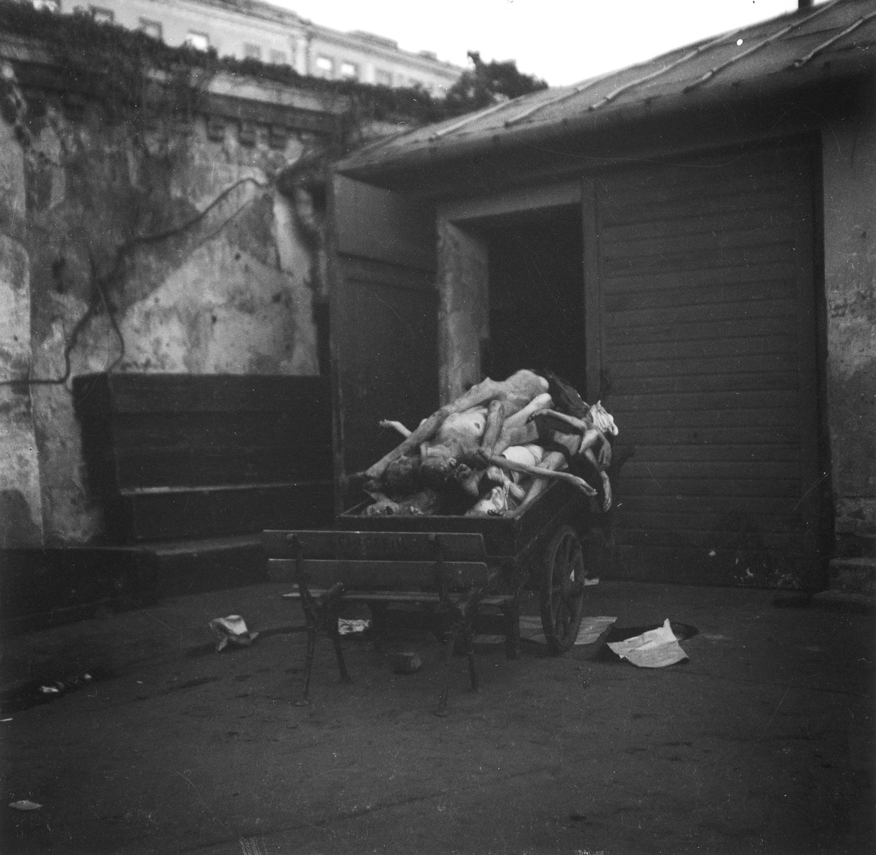 """A cart filled with corpses of Jews who died in the Warsaw ghetto, awaiting mass burial at the Jewish cemetery.  Joest's original caption reads: """"Most of the dead were brought to mass graves with no covering at all."""""""