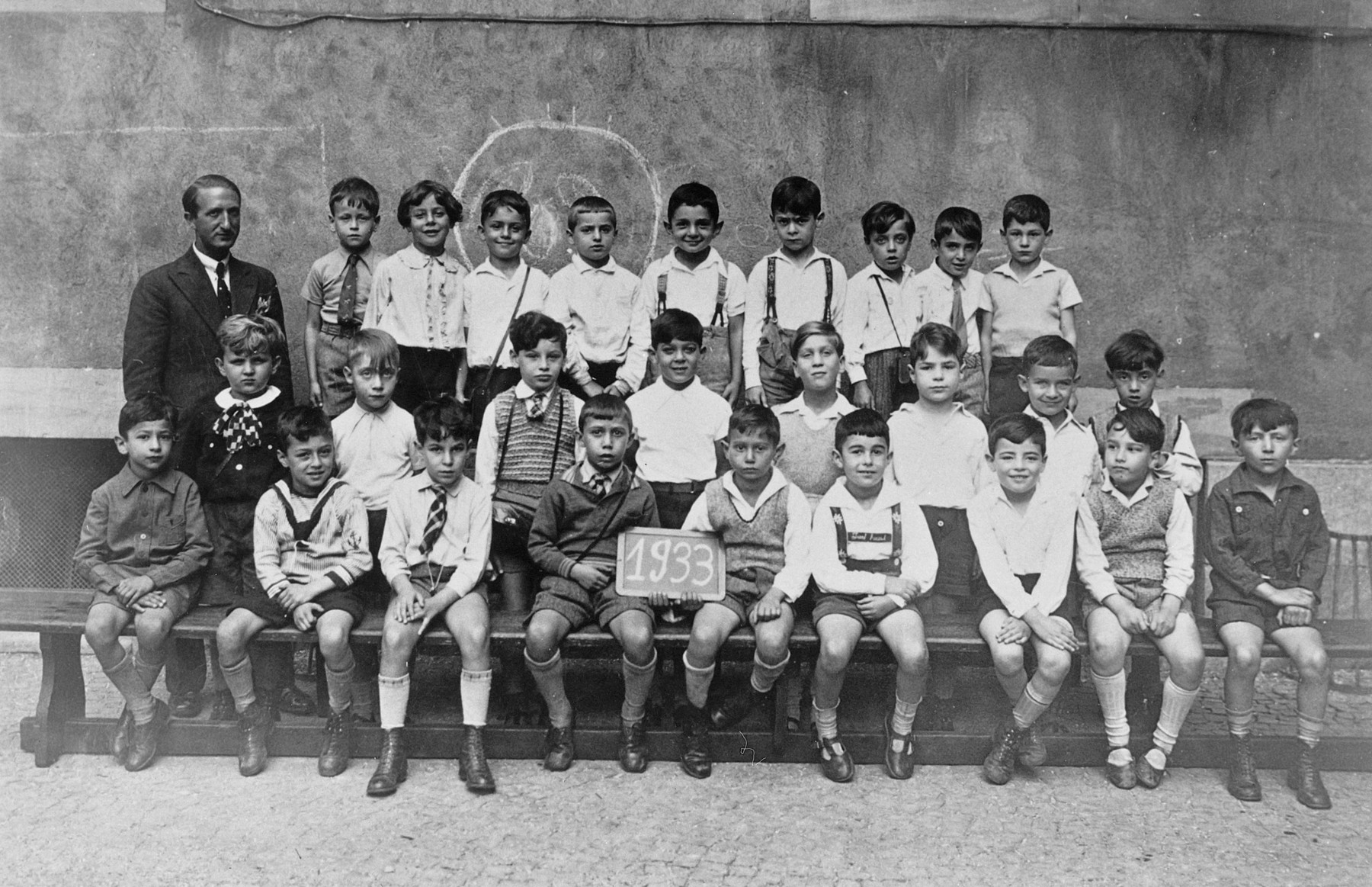 Students and their teacher at the Philantropin Jewish School in Frankfurt, Germany.  Among those pictured is Werner Manfred Siegel, (middle row, second from the left).  [Oversized print.]