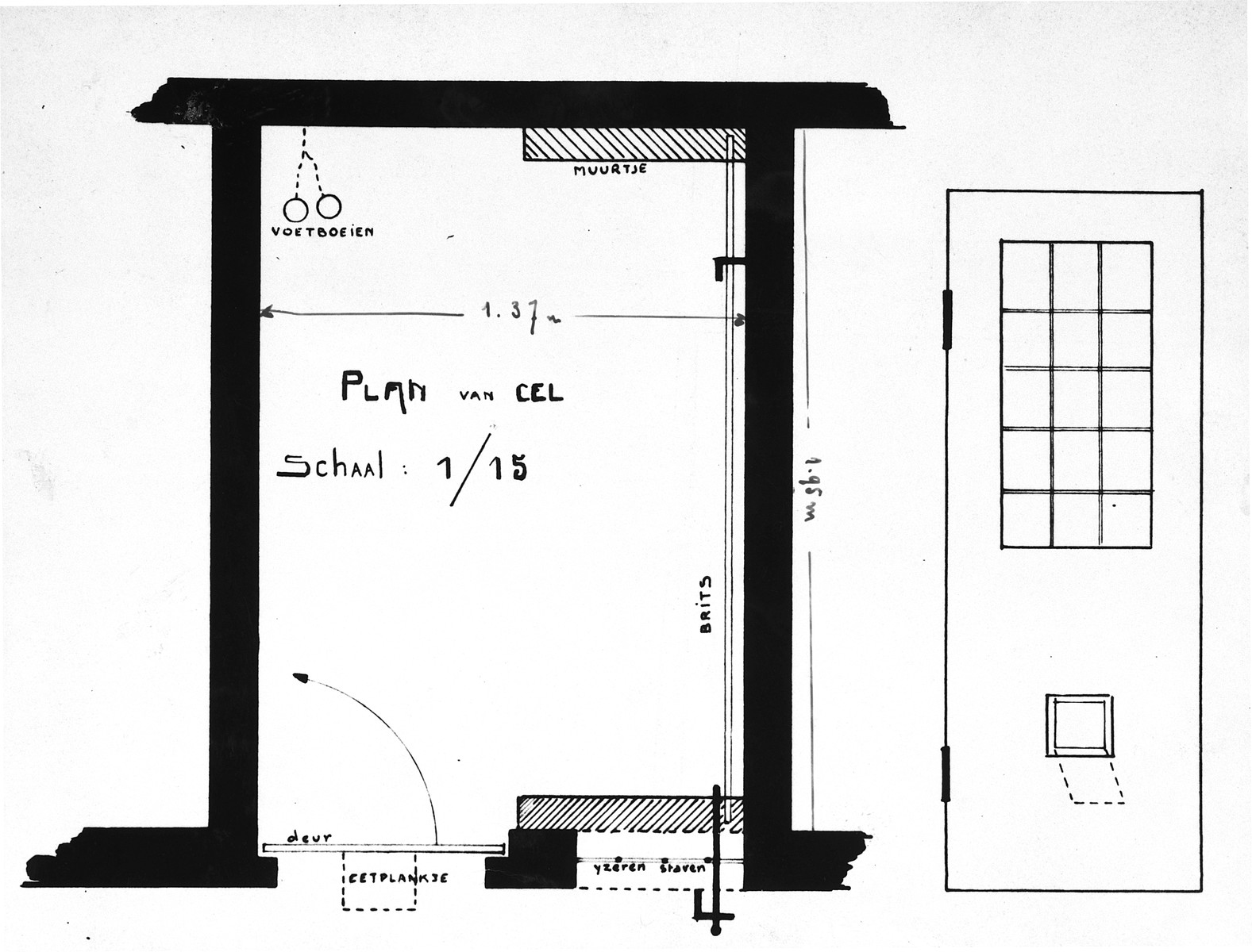 "Plan of one of the prison cells in Breendonck.  The original caption reads""Note the bed on the right which is held in position by metal rod and lowered from the outside of the cell -- it was lowered at 2000 hrs. and raised again at 0600 hrs. the next morning.  Food was put into the cell through the small trap door near the bottom of the door.  Note the shackles fixed into the wall."""