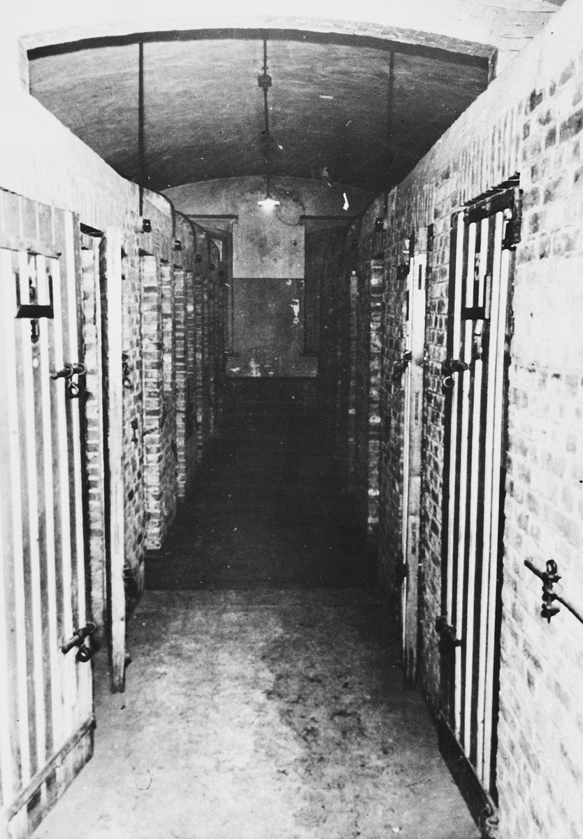 View of the corridor holding the isolation cells in the Breendonck concentration camp.