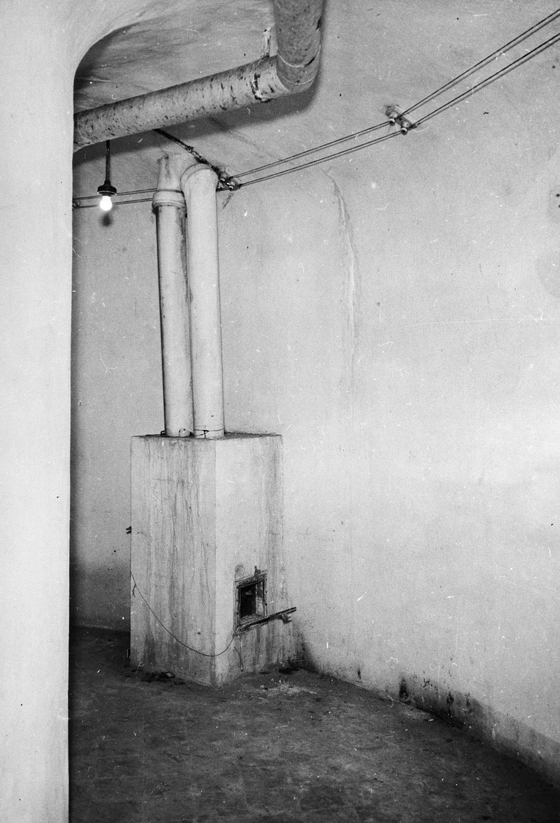 """Interior view of a circular room known as the """"Gas Chamber"""" which was used as a mortuary."""