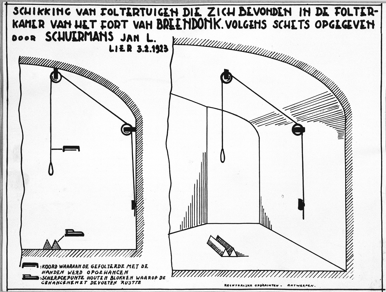 Plan showing the arrangements of torture devices in Breendonck.