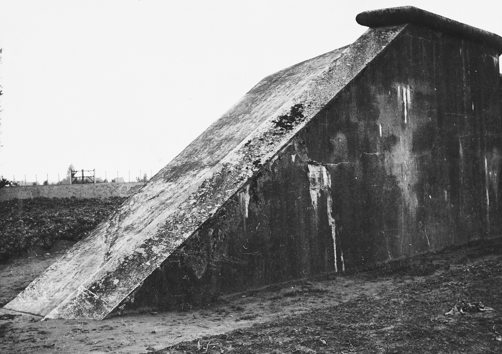 View of a steep ramp in the Breendonck concentration camp.  Prisoners were forced to crawl up and down this ramp with back packs filled with stones.