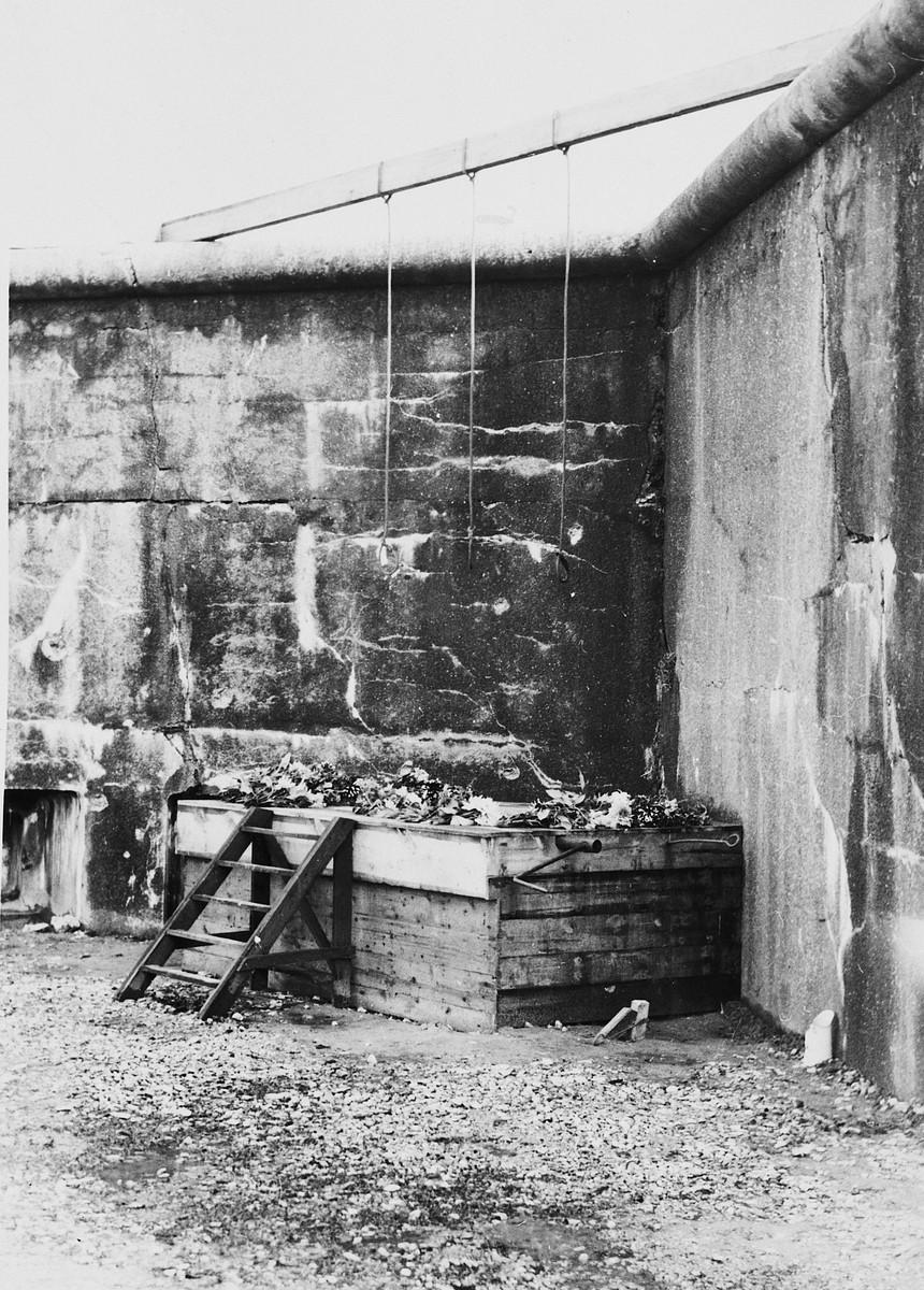 "View of the gallows in the Breendonck concentration camp.    Original caption reads: ""The horizontal bar and the platform were removed by the Germans.  The platform has a trap door in the center which is operated by the iron handle shown in the picture.  The platform steps and the iron handle are those used by the Germans."""