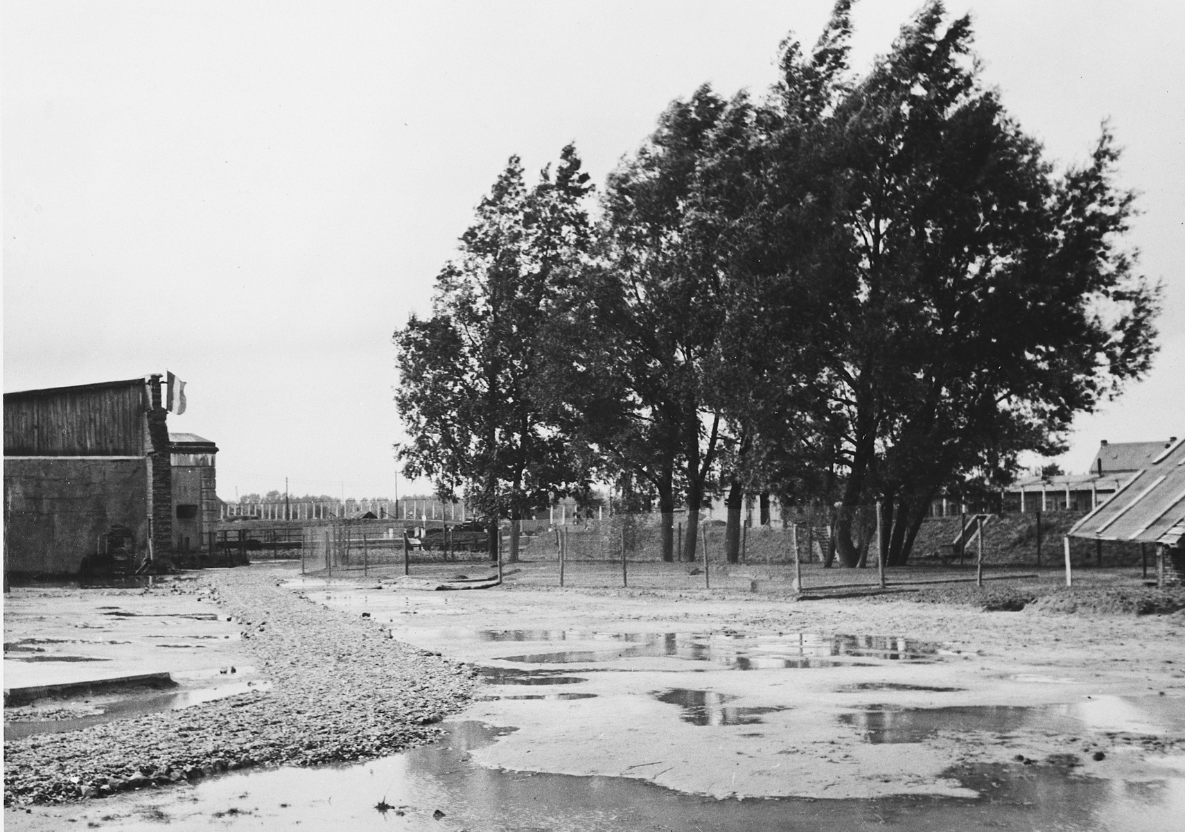 View of the prison yard in the Breendonck concentration camp.