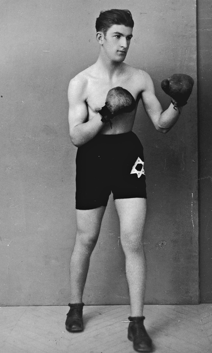 Close-up portrait of a Greek-Jewish boxer.  Pictured is Jeshua Matsas, cousin of the donor's father.