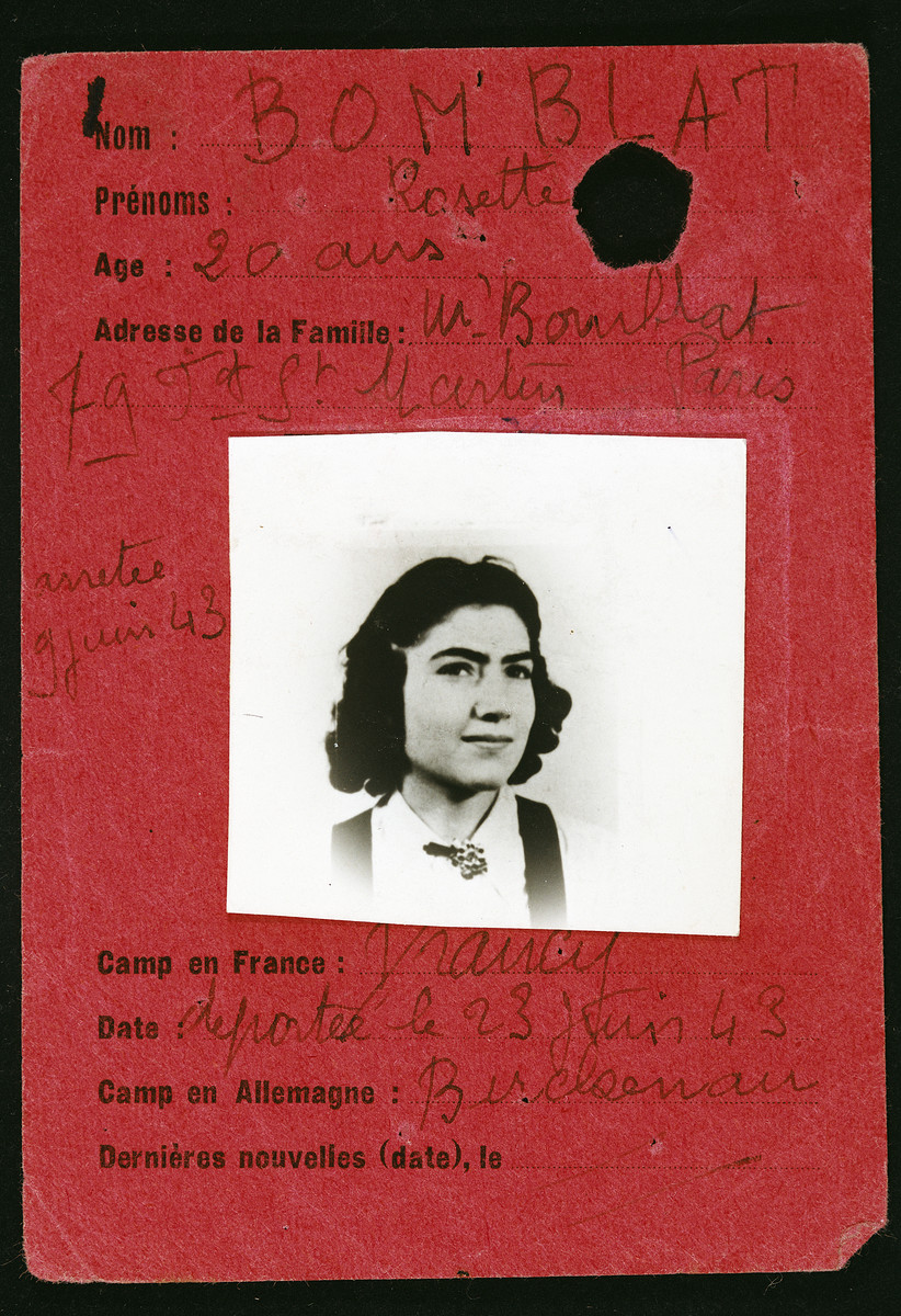 Identification card issued to Rosette Bomblat in the Drancy concentration camp where she stayed for two weeks prior to her deporation to Auschwitz.