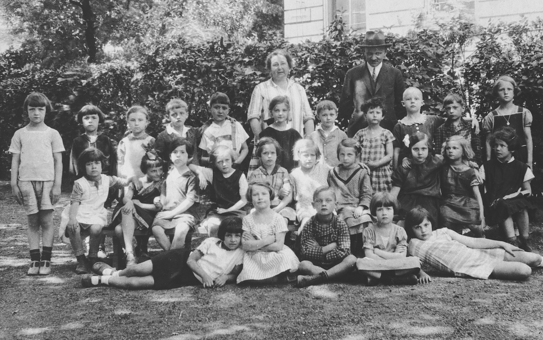 Austrian and Jewish children in a first grade class in Vienna Austria.  Hanni Duetsch is pictured in the second row on the far right.
