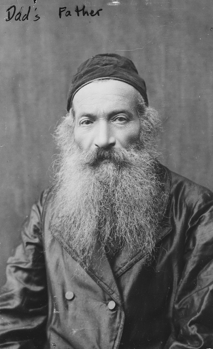 Studio portrait of Moshe Yitzchak Frucht, a religious Polish Jew and the grandfather of the donor.