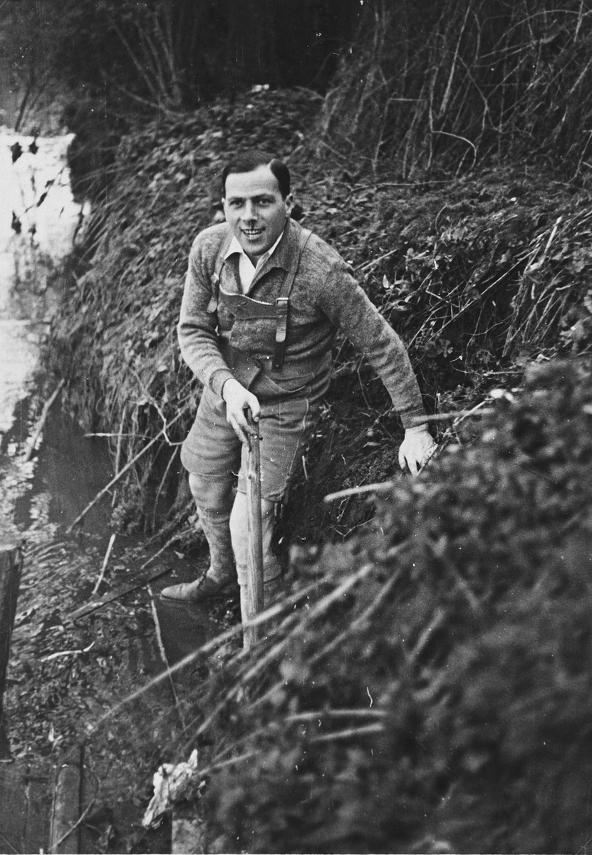 Close-up portrait of a German-Jewish man wearing lederhosen hiking through the German countryside.  Pictured is Alfred Rahn.
