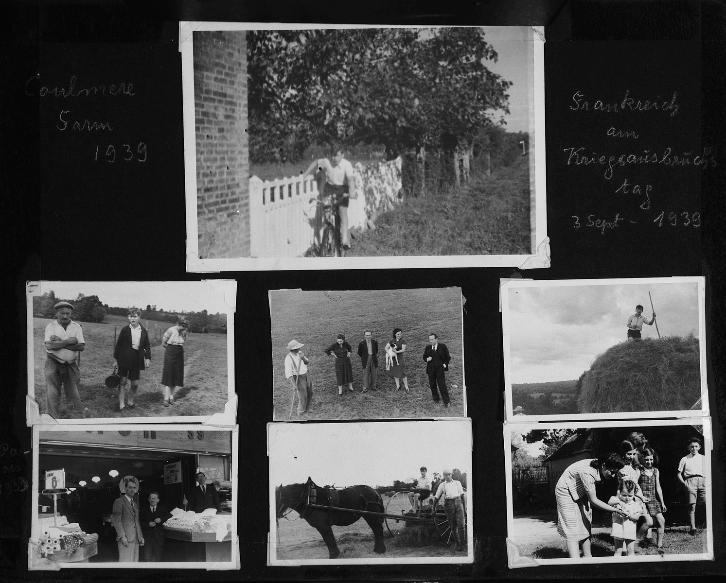 "Page from a photo album of German-Jewish refugees in France showing various pastoral images entitled ""the day the war broke out Spetember 3 [sic] 1939."""