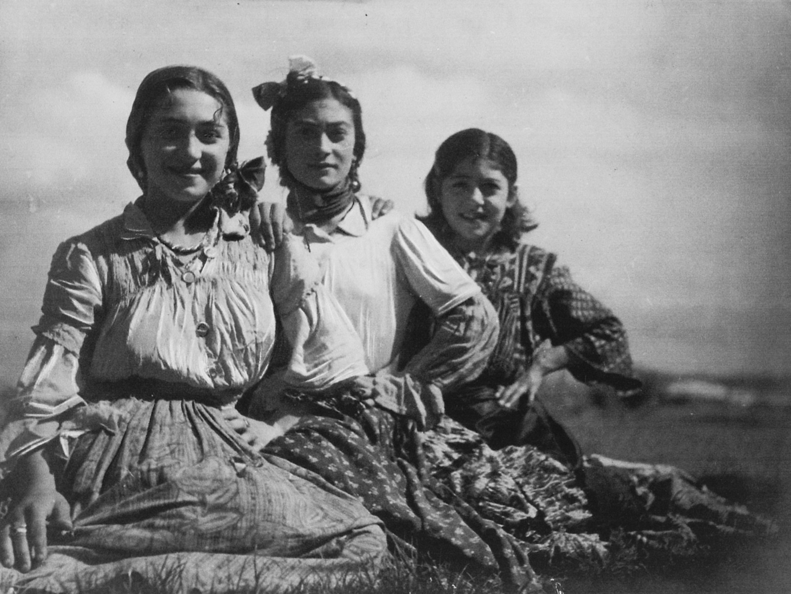 "Portrait of three young Roma (Gypsy) women.  The caption in ""The Heroic Present"" reads, ""Europe, 1930s.  Women of Pulika's kumpania, including Rosa (left) and Sinza (right)."""