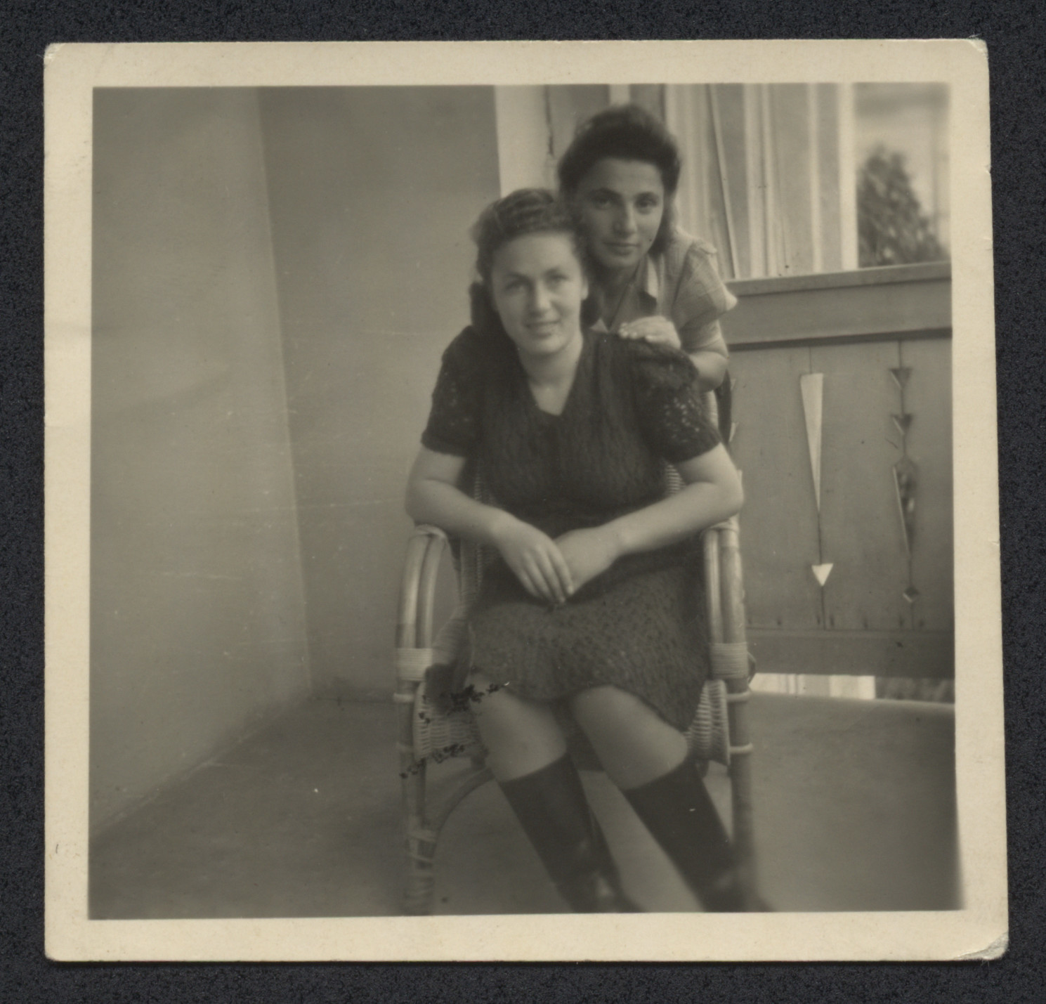 Hencia Wagner poses with a friend (possibly Carolina Wilk) after liberation.