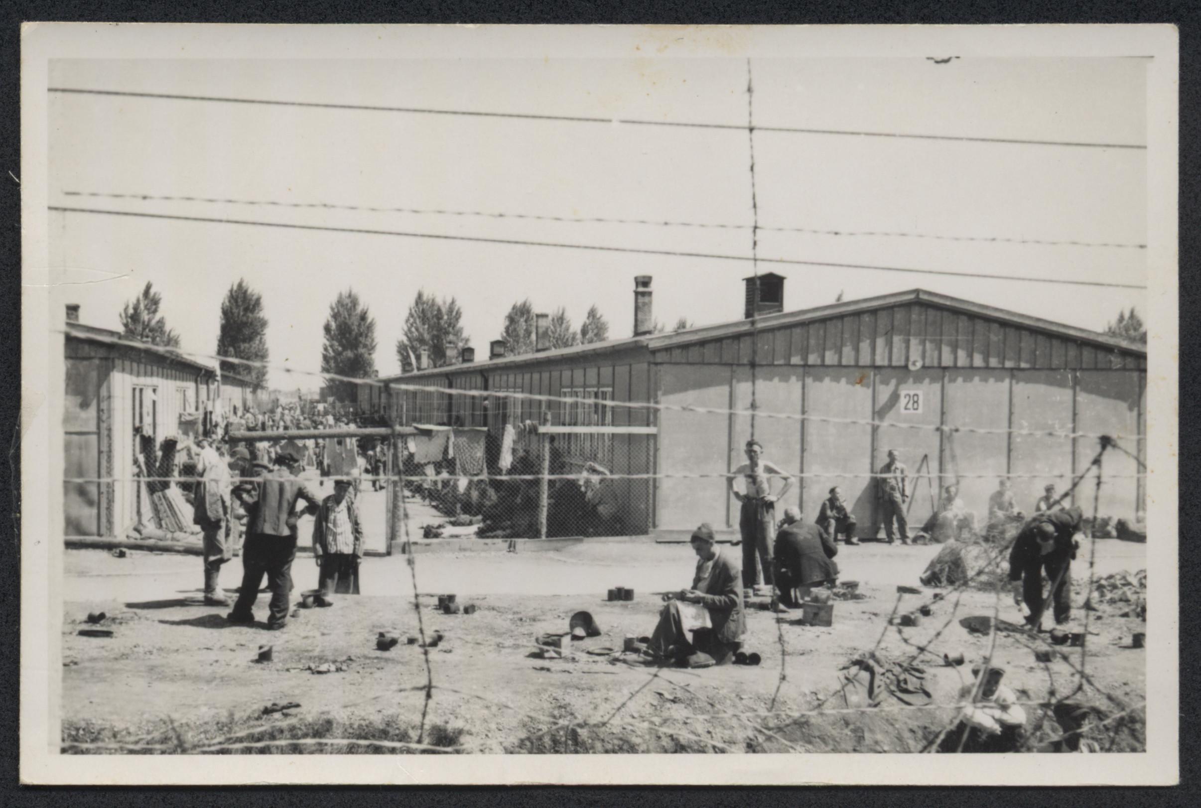 Survivors gather in small groups in front of the barracks in Dachau.