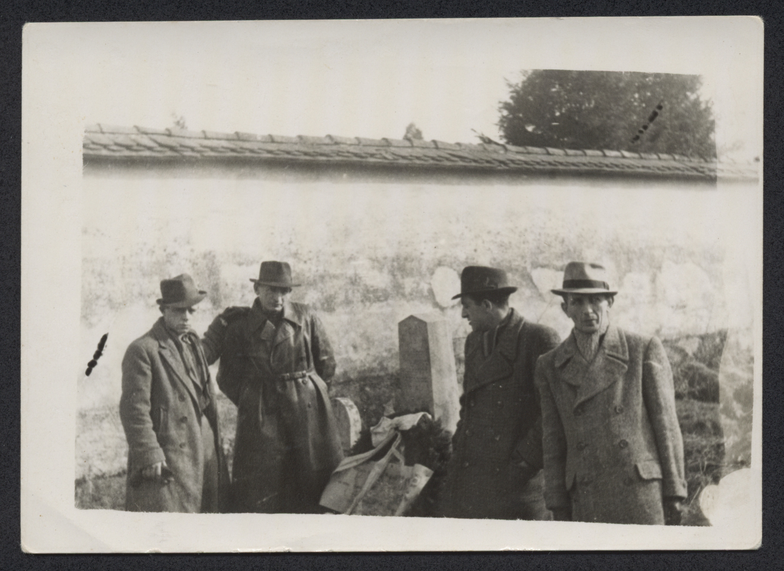 Jewish displaced persons rebury exhumed corpses in a cemetery at Mauthausen one year after the liberation of the camp.
