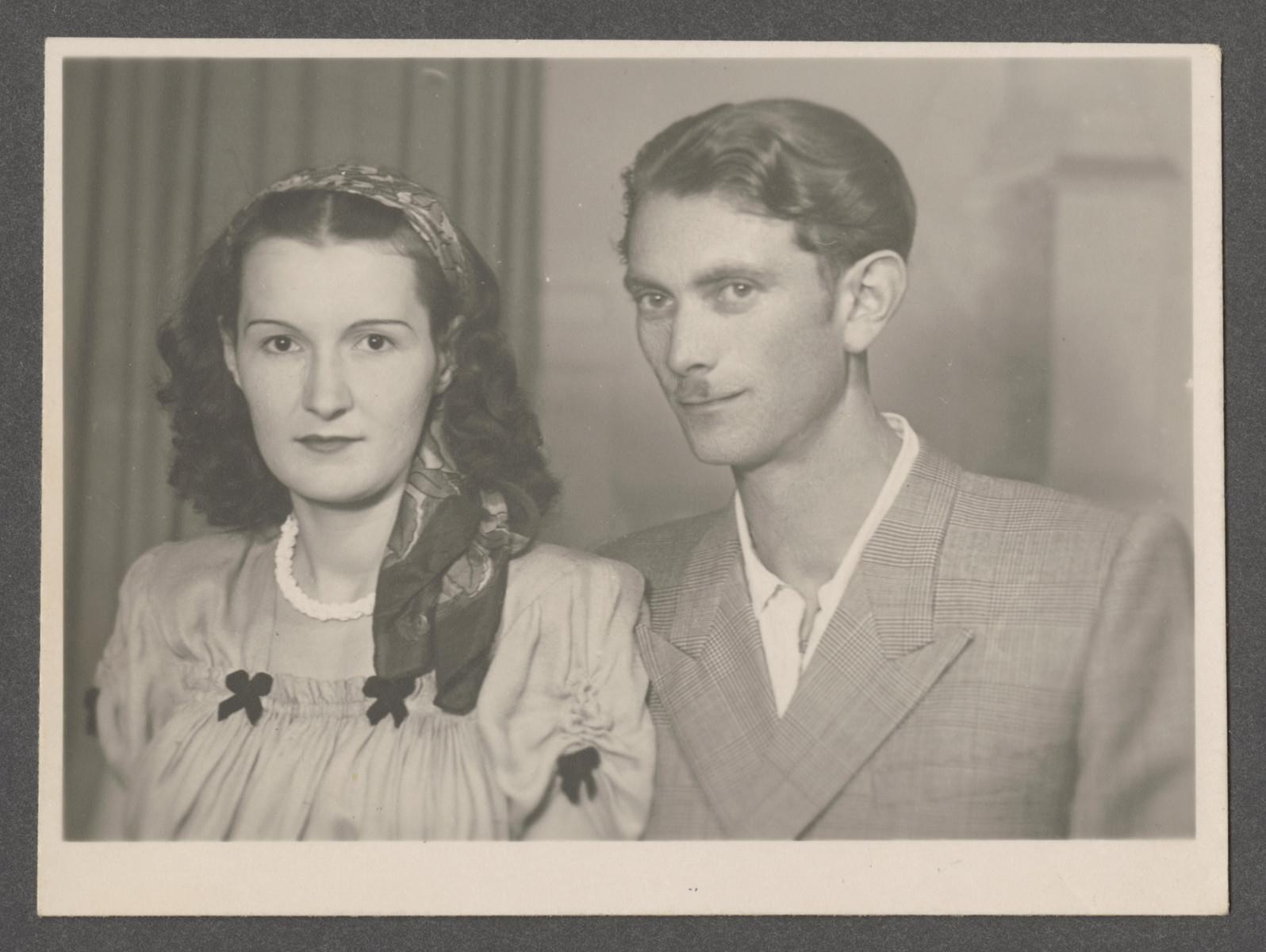 Studio portrait of Irena and Boris Scwarczman in postwar Poland.
