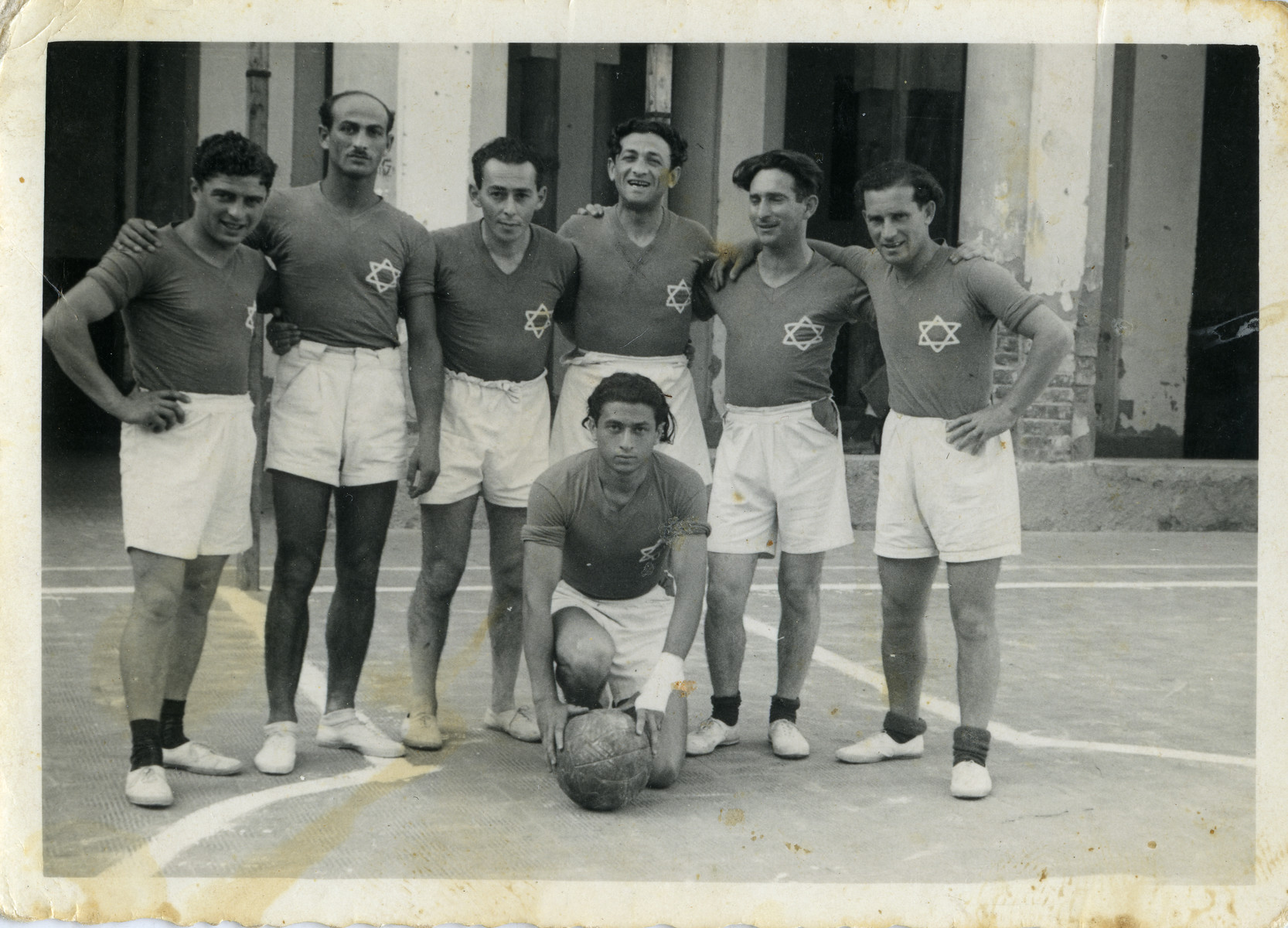Members of the Cremona DP camp soccer team pose for a team photograph.  Leib (Leon) Kagan is pictured third from the right,.