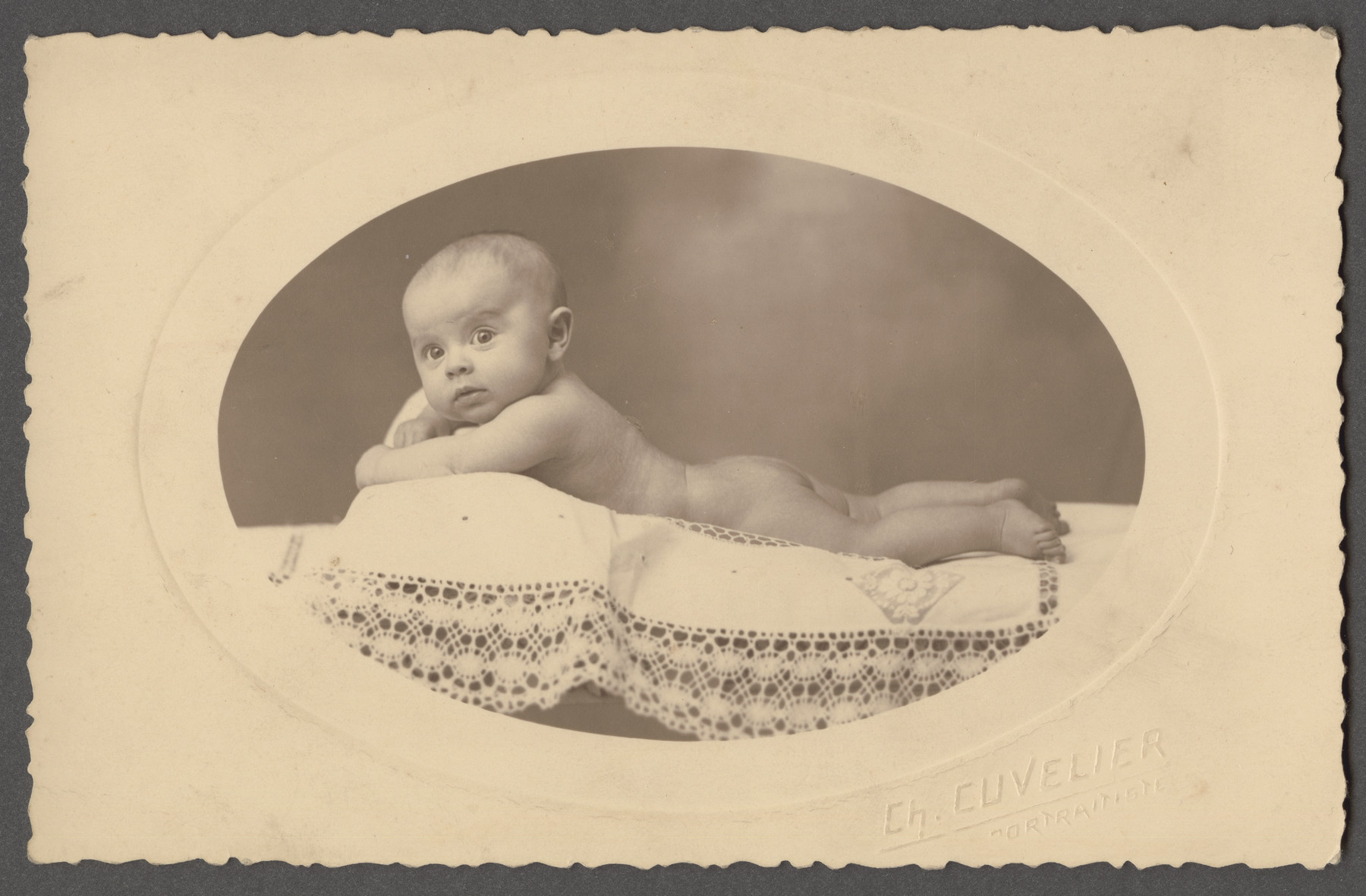 Studio portrait of Mathilde Berenzon as an infant.