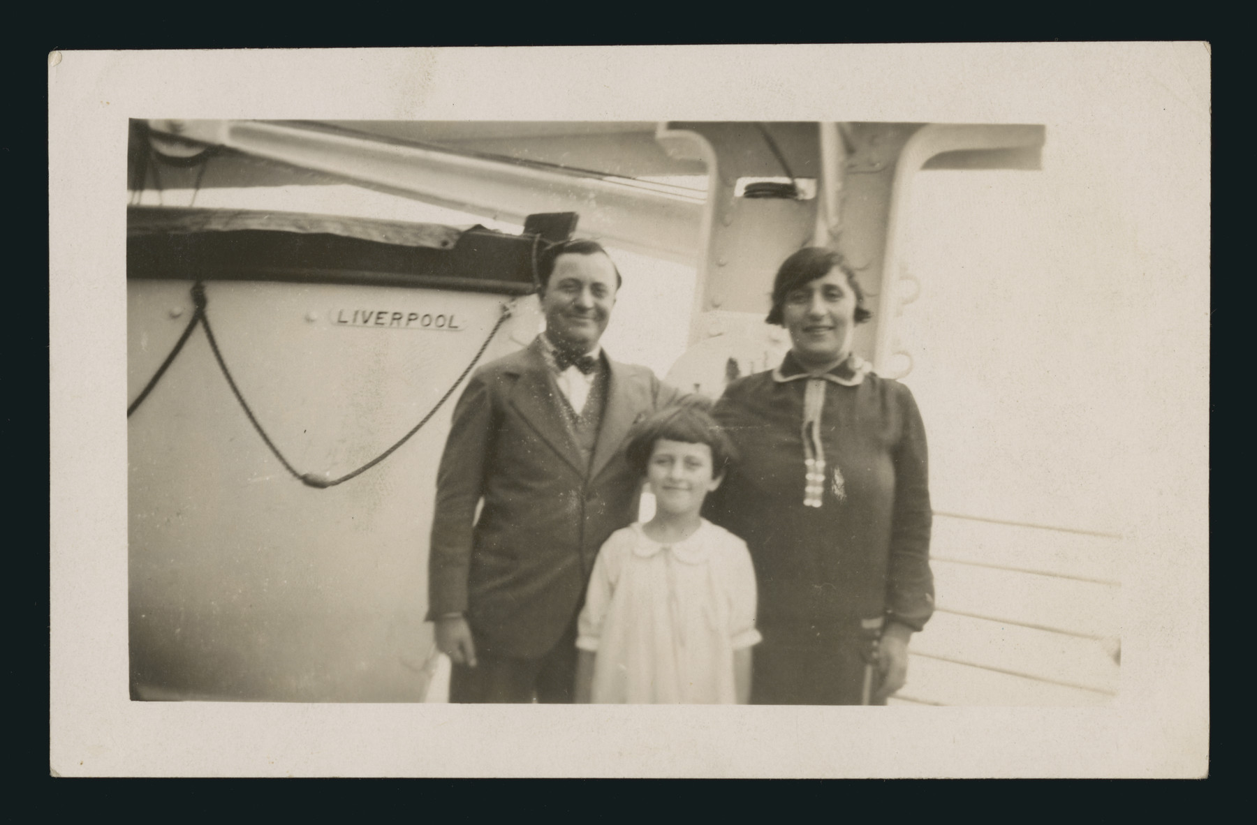 The Wolf family poses on board a ship on their return to America after paying a visit to their families in Eisiskes.