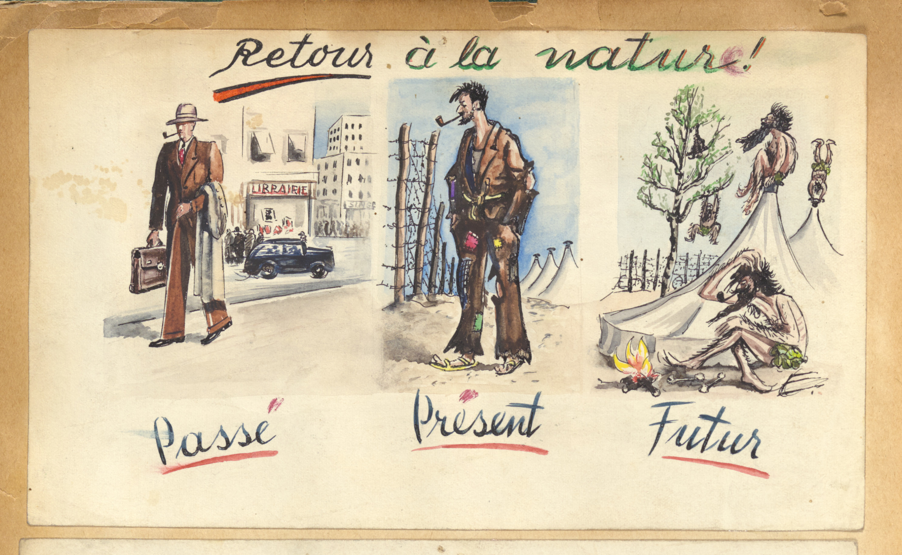 """Sketch from the scrapbook of Donald Coster presented to him during his inspection of the internment camp in Djelfa.  The page is entitled,  """"Return to nature: past, present and future."""""""