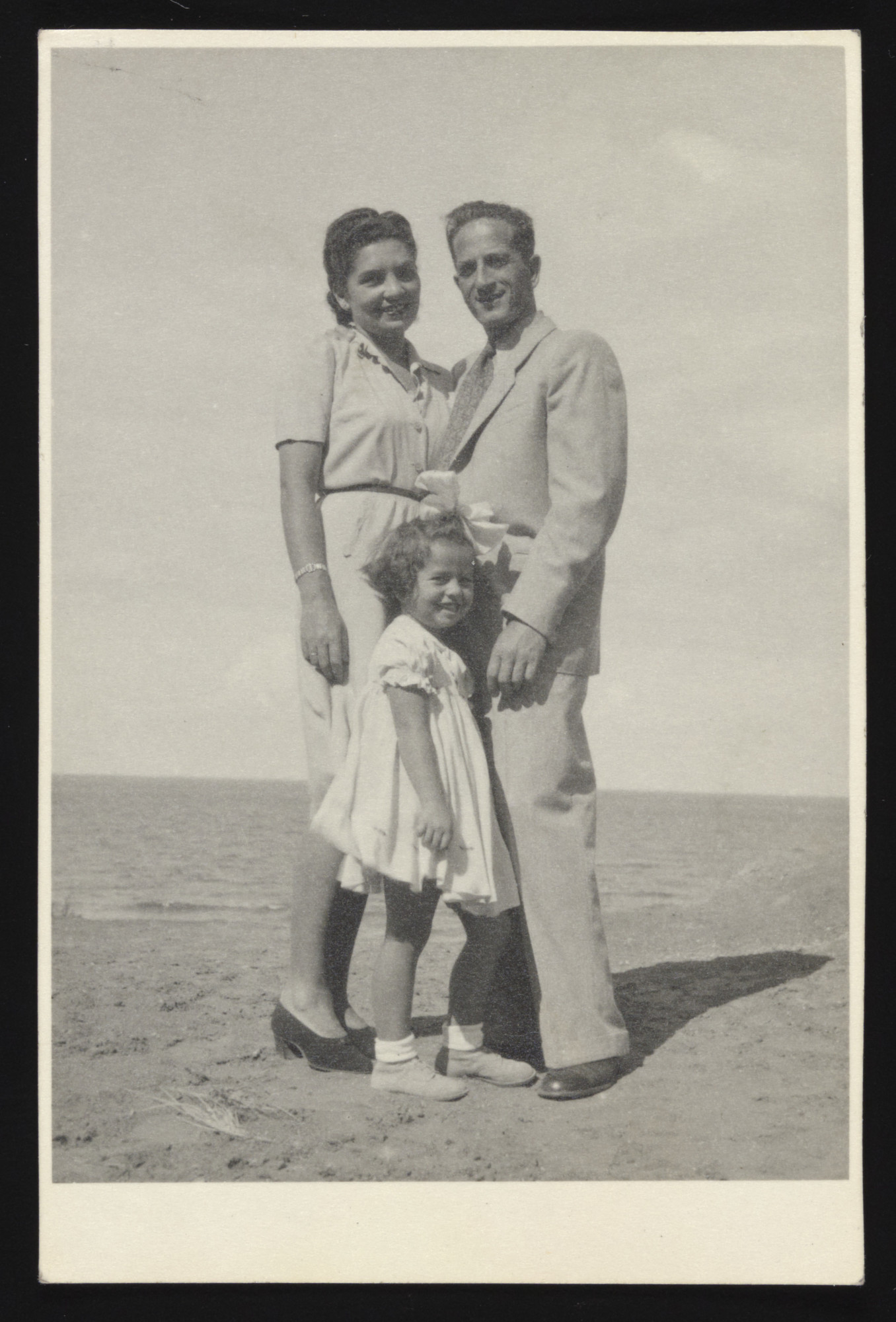 Samuel Weissman (Tamar's maternal uncle) and his family pose on a beach in Tel-Aviv.