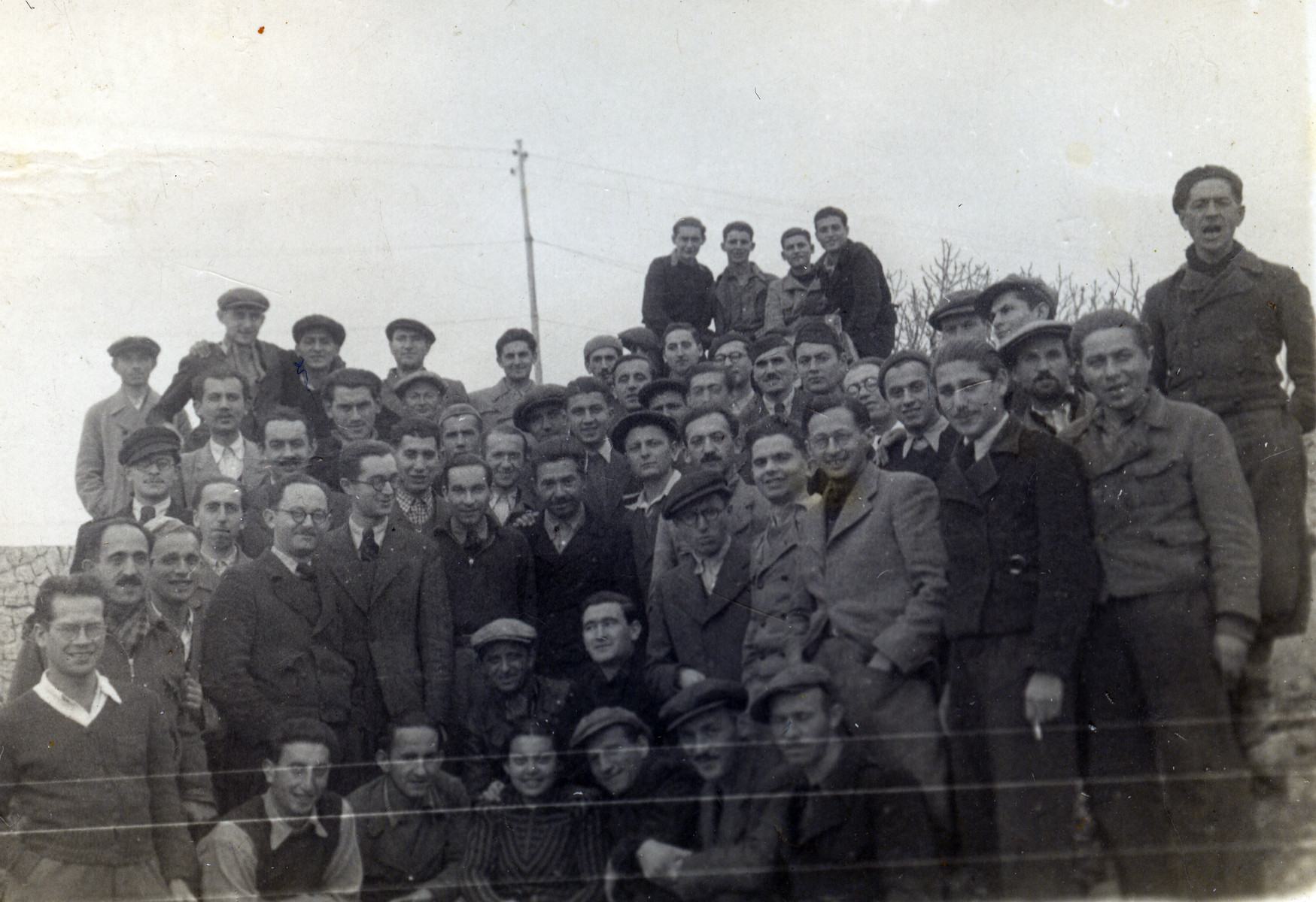 Refugees from the sunken Pentcho pose for a group photo either on the island of Kamilonissi or Rhodes.