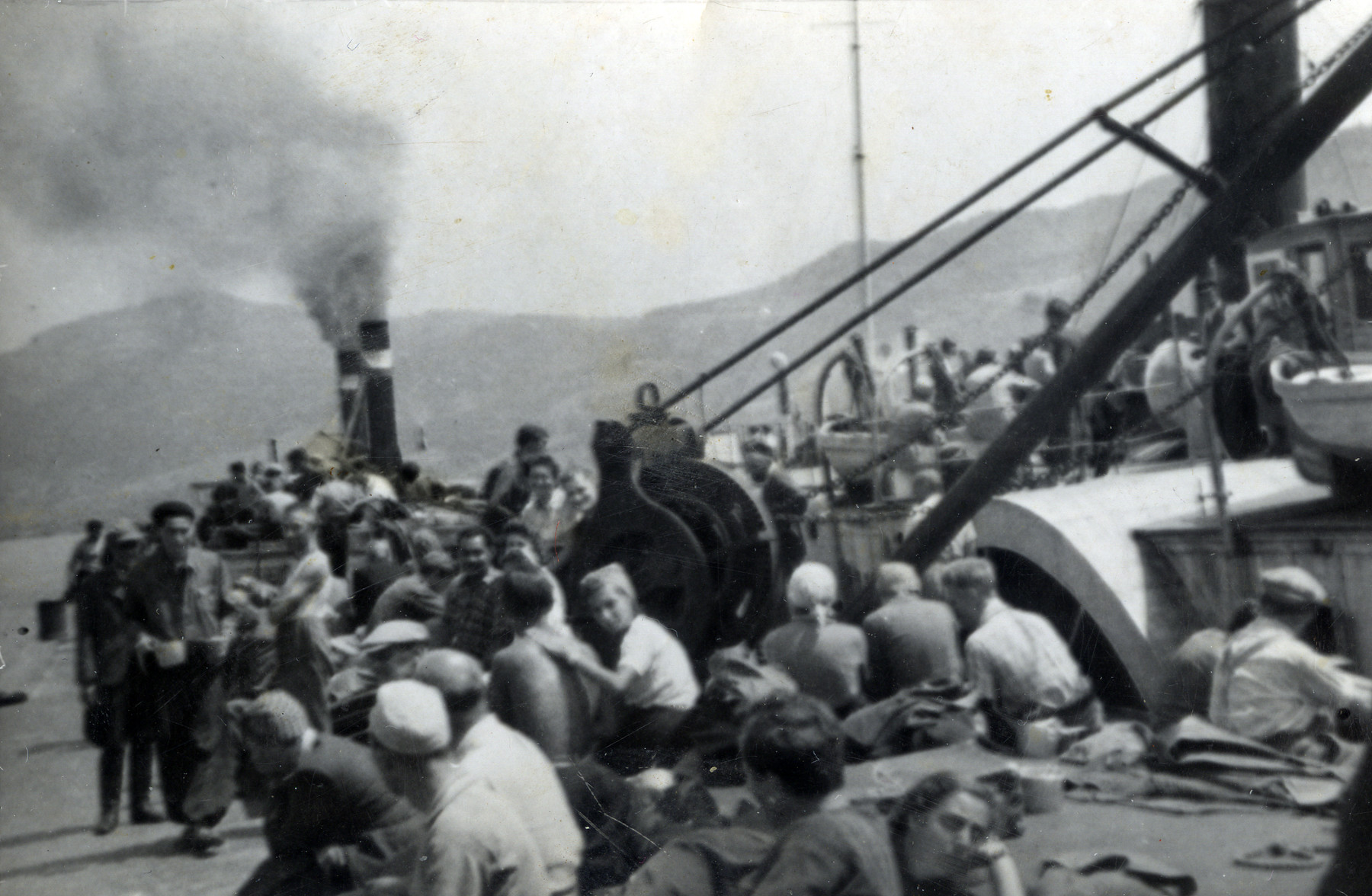 Refugees from the shipwrecked Pentcho wait for help on the island of Kamilonissi.