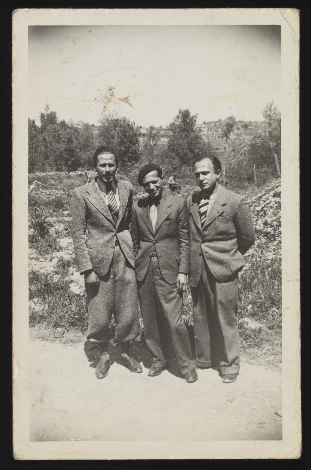 Three internees pose together in Les Milles internment camp in southern France.  Pictured are Freddy Horn, Fritz Tockus (donor's brother-in-law) and Ludwig Cohn (donor's brother).