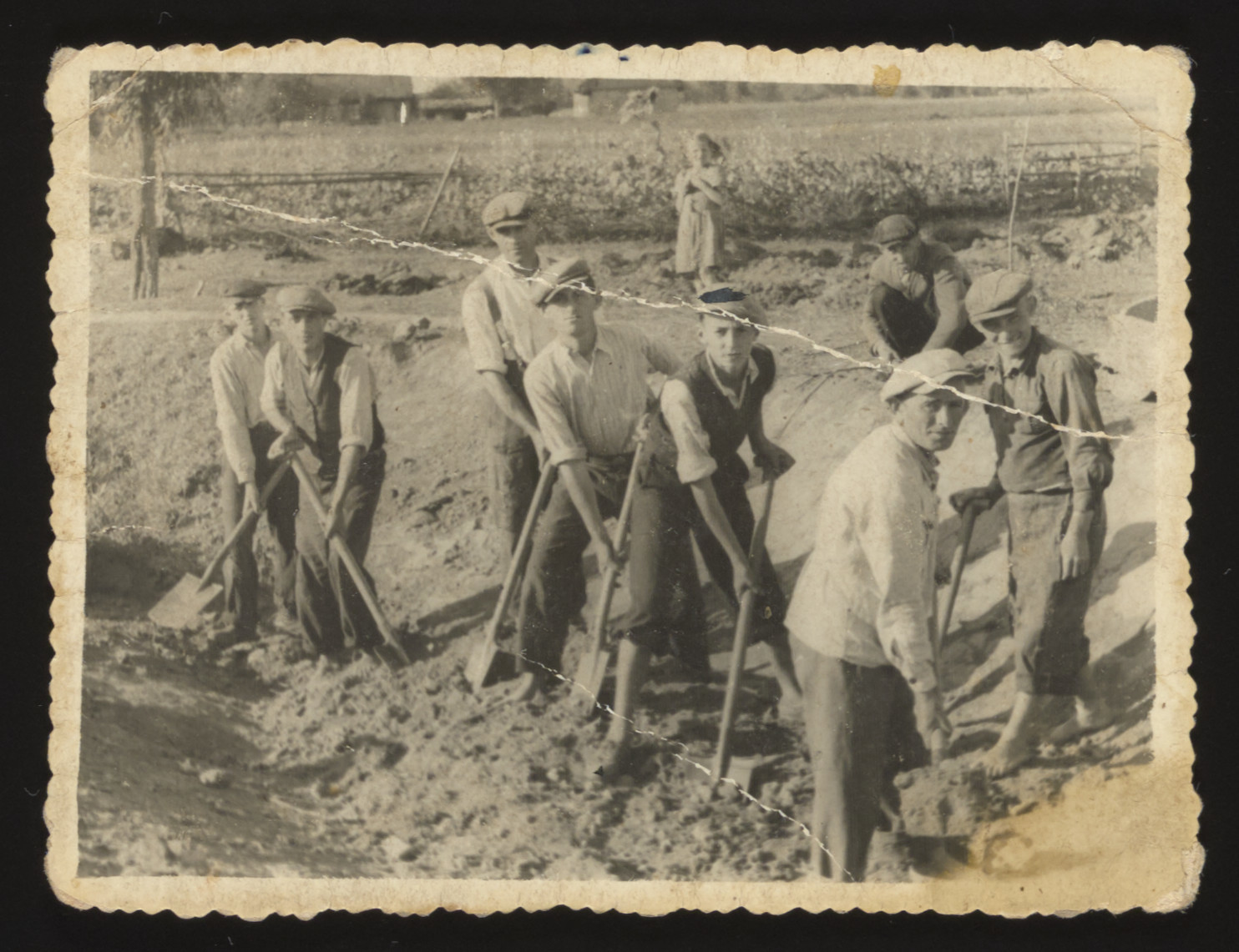 Jewish men from Kozienice at forced labor digging a drainage channel.  Among those pictured is Baruch Aaron Szabason (fifth from the left,16 years old). Baruch, who perished during the war, was the nephew of the donor, Lewis Szabason.  Also pictured are Orbach (third from left), Mendel Sierota (fourth from left), Yankel Mandelbaum (second from right) and Shlomo Miller (far right).