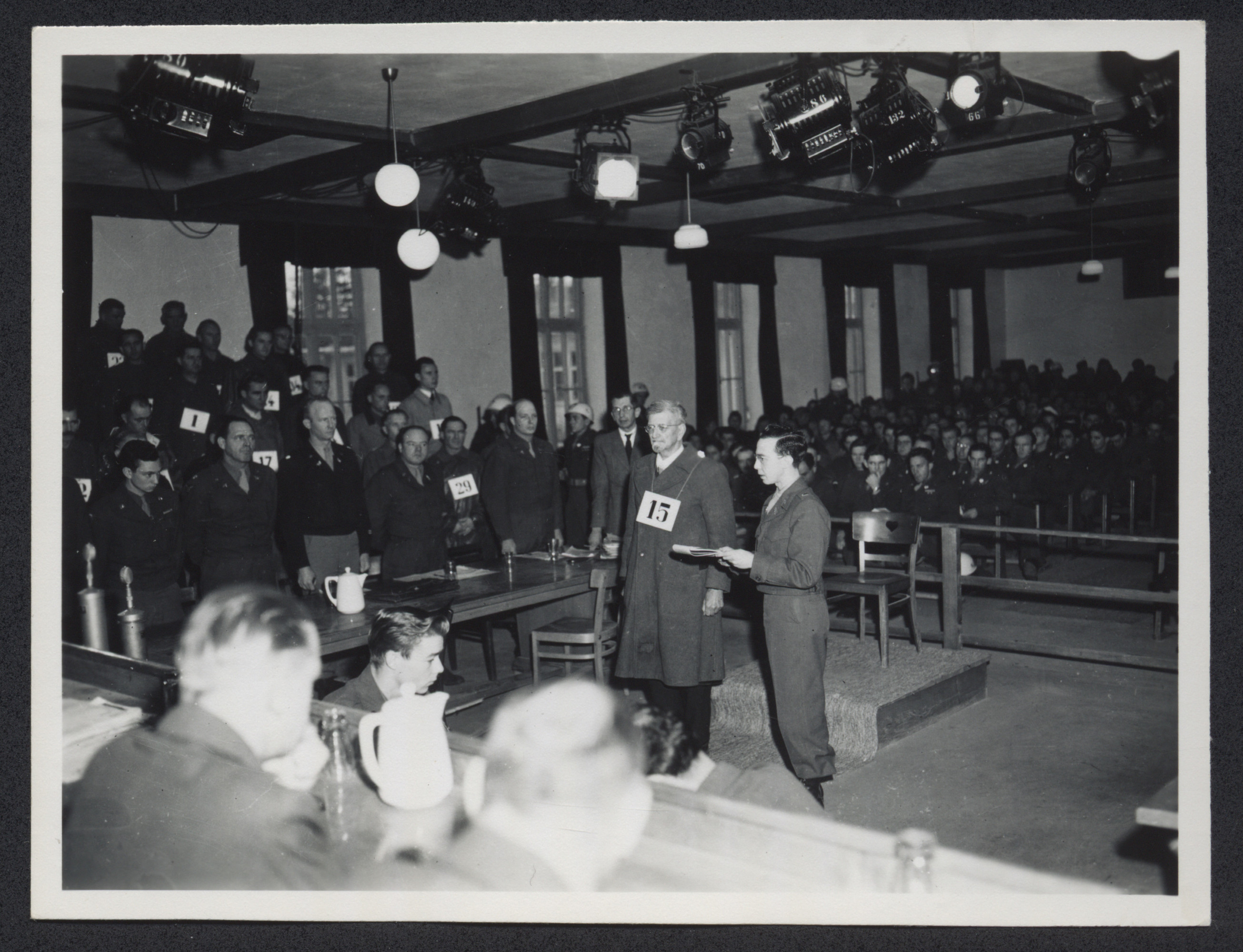 Dr. Klaus Schilling appears before the court at the Dachau trial.