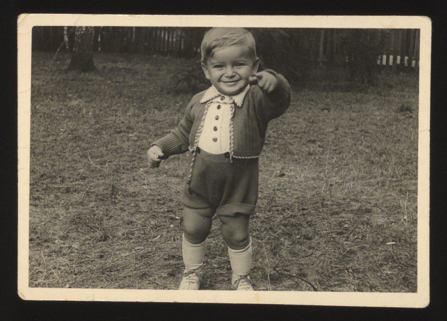 Close-up portrait of a young Polish Jewish toddler taken shortly before the start of World War II.  Pictured is Stefan Joachim Natan Rozenberg.