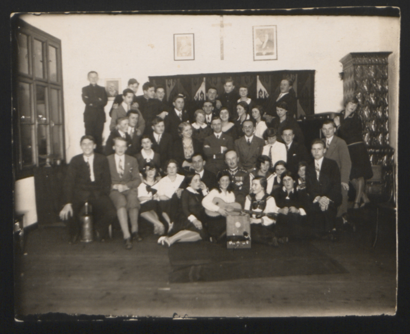 Group portrait of members of a mandolin orchestra in Boryslaw.  Among those pictured is Rozka Pomeranz, donor's aunt (second from the left).