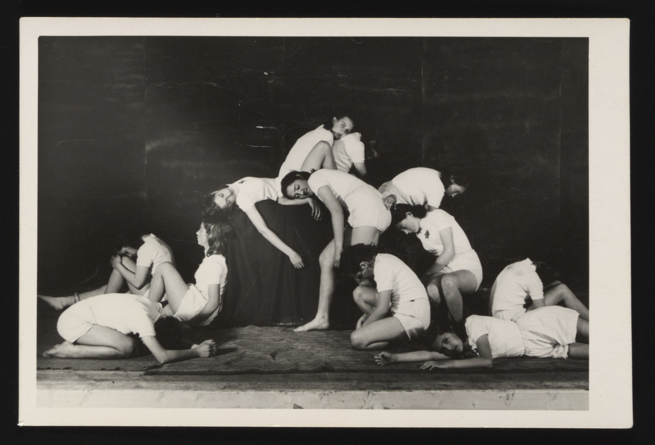 Young women put on a theatrical performance at a Slovak labor camp.
