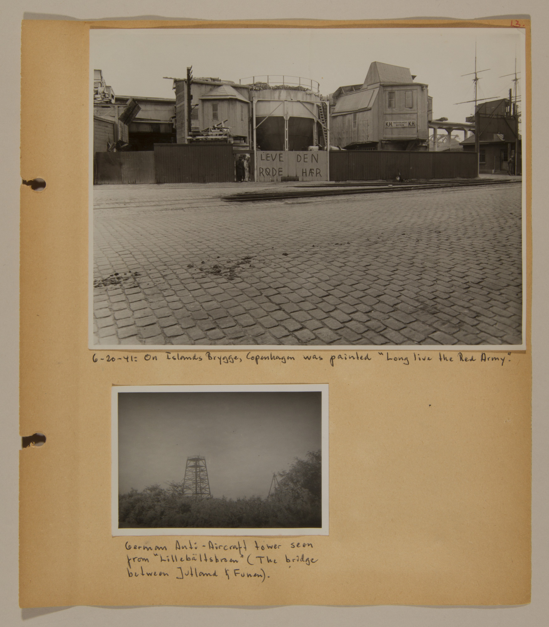 Page from volume two of a set of scrapbooks compiled by Bjorn Sibbern, a Danish policeman and resistance member, documenting the German occupation of Denmark.  This page has a photograph showing anti-German graffiti.