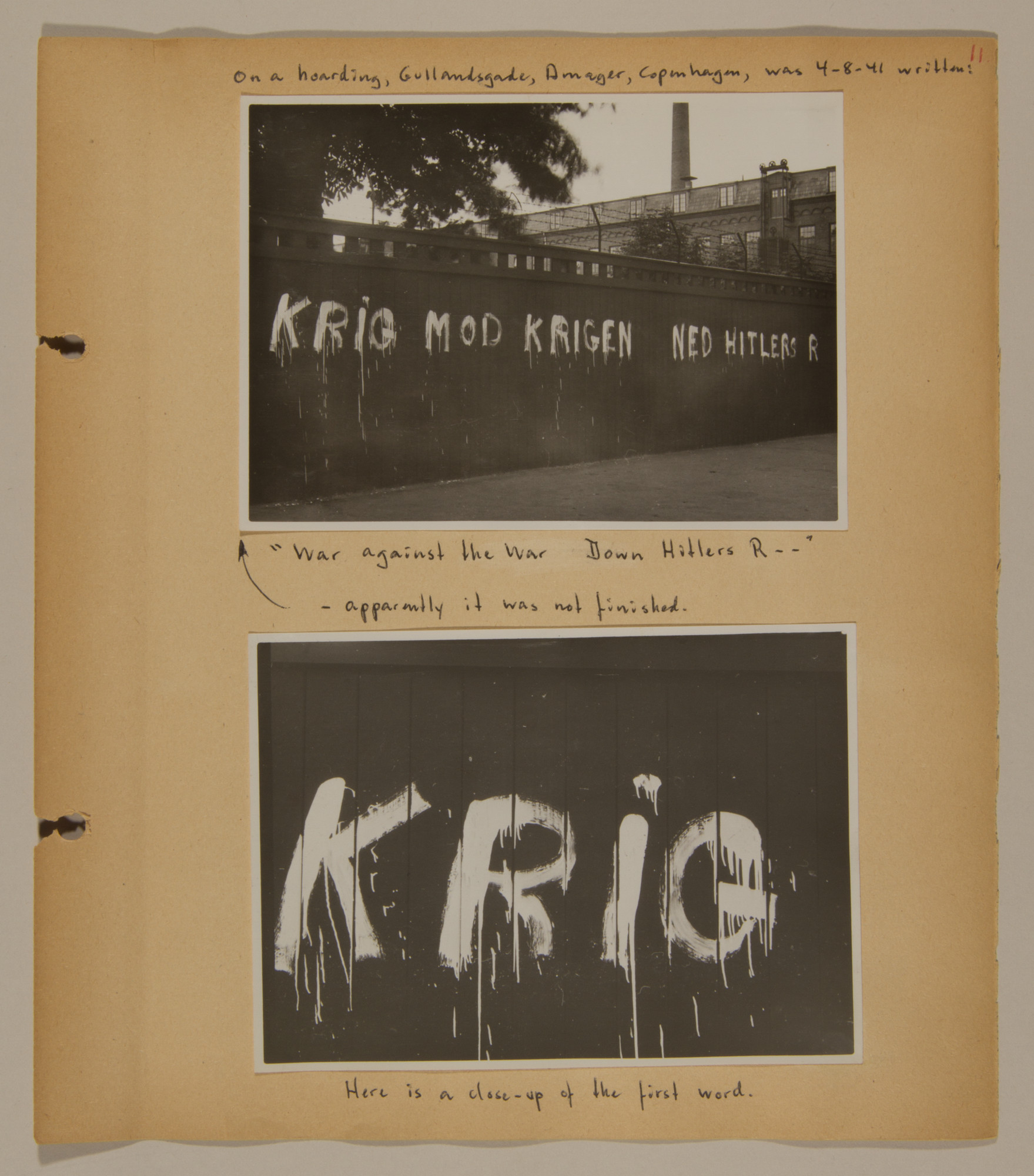Page from volume two of a set of scrapbooks compiled by Bjorn Sibbern, a Danish policeman and resistance member, documenting the German occupation of Denmark.  This page has photographs of anti-German graffiti.