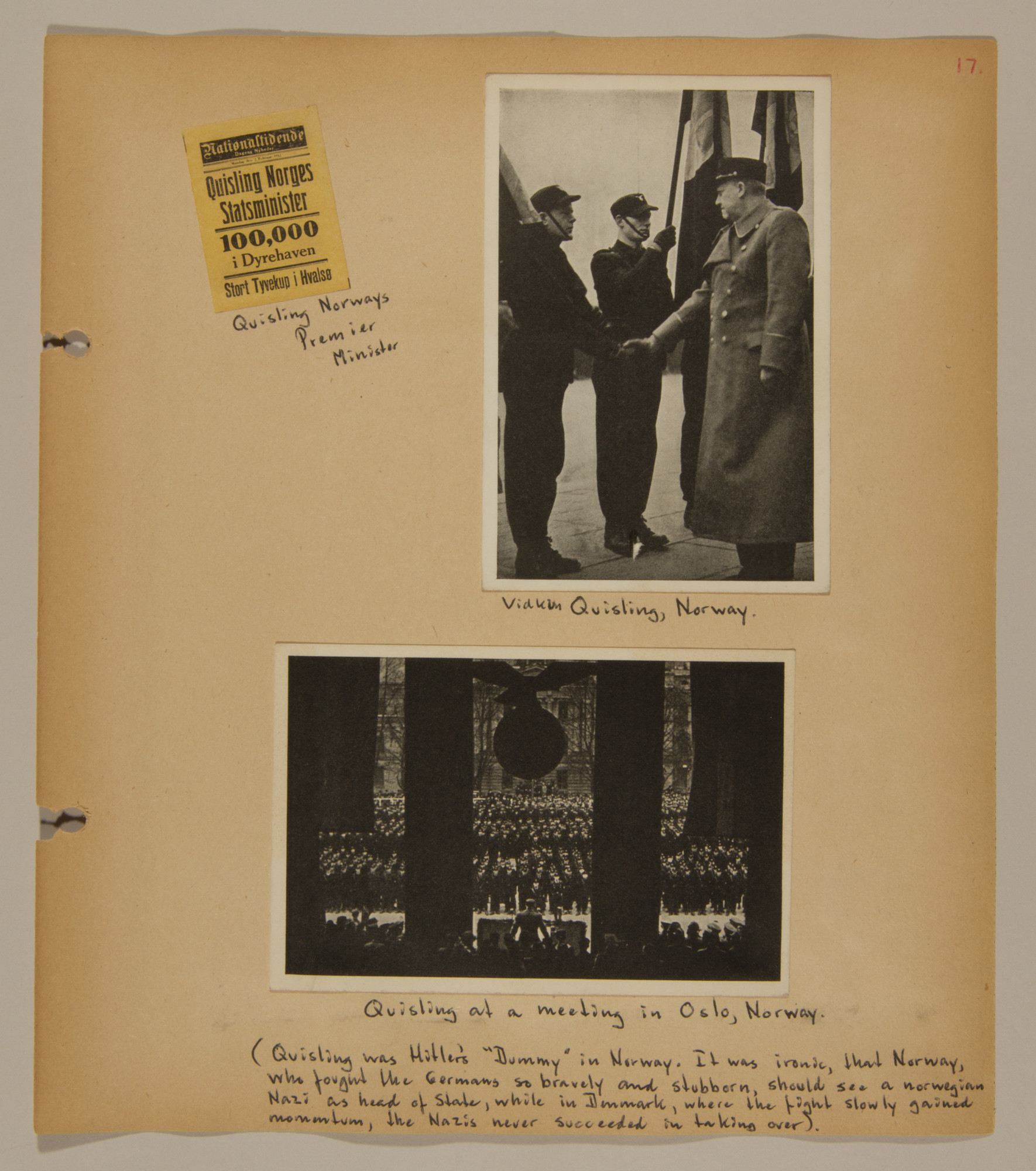 Page from volume two of a set of scrapbooks compiled by Bjorn Sibbern, a Danish policeman and resistance member, documenting the German occupation of Denmark.  This page has photographs of the Norwegian collaborator, Vidkun Quisling.