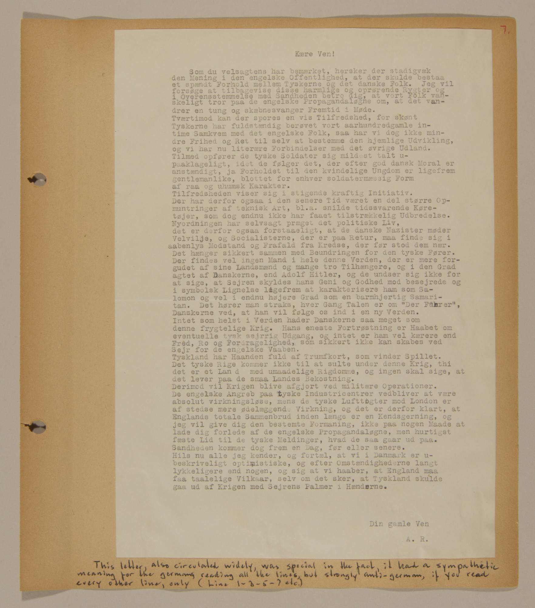 Page from volume two of a set of scrapbooks compiled by Bjorn Sibbern, a Danish policeman and resistance member, documenting the German occupation of Denmark.  This letter has a coded meaning where it appears to be  pro-German but if read every other line is in fact anti-German.