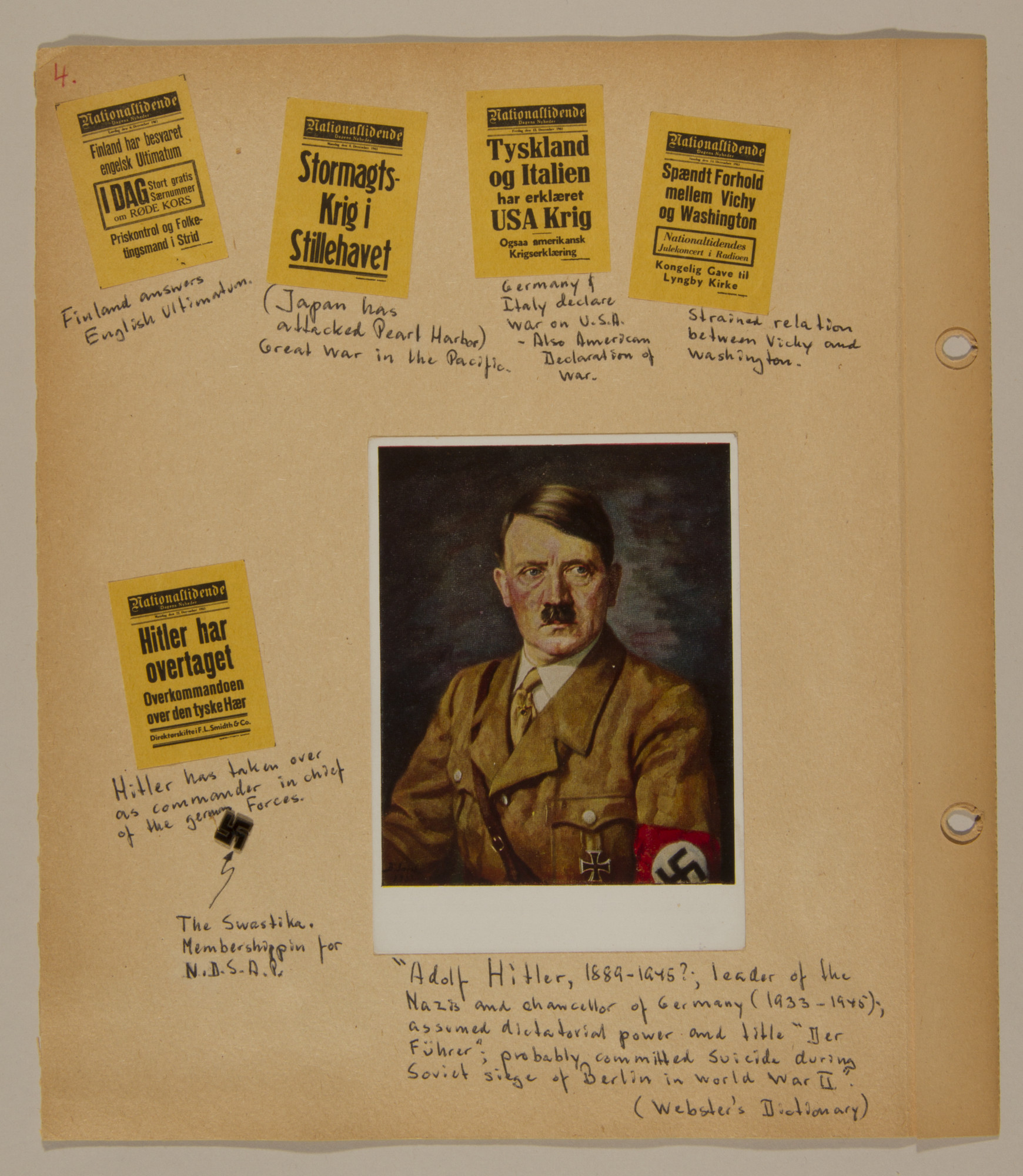 Page from volume two of a set of scrapbooks compiled by Bjorn Sibbern, a Danish policeman and resistance member, documenting the German occupation of Denmark.  This page has a photograph of Adolf Hitler and newspaper headlines about the American entry into World War II.