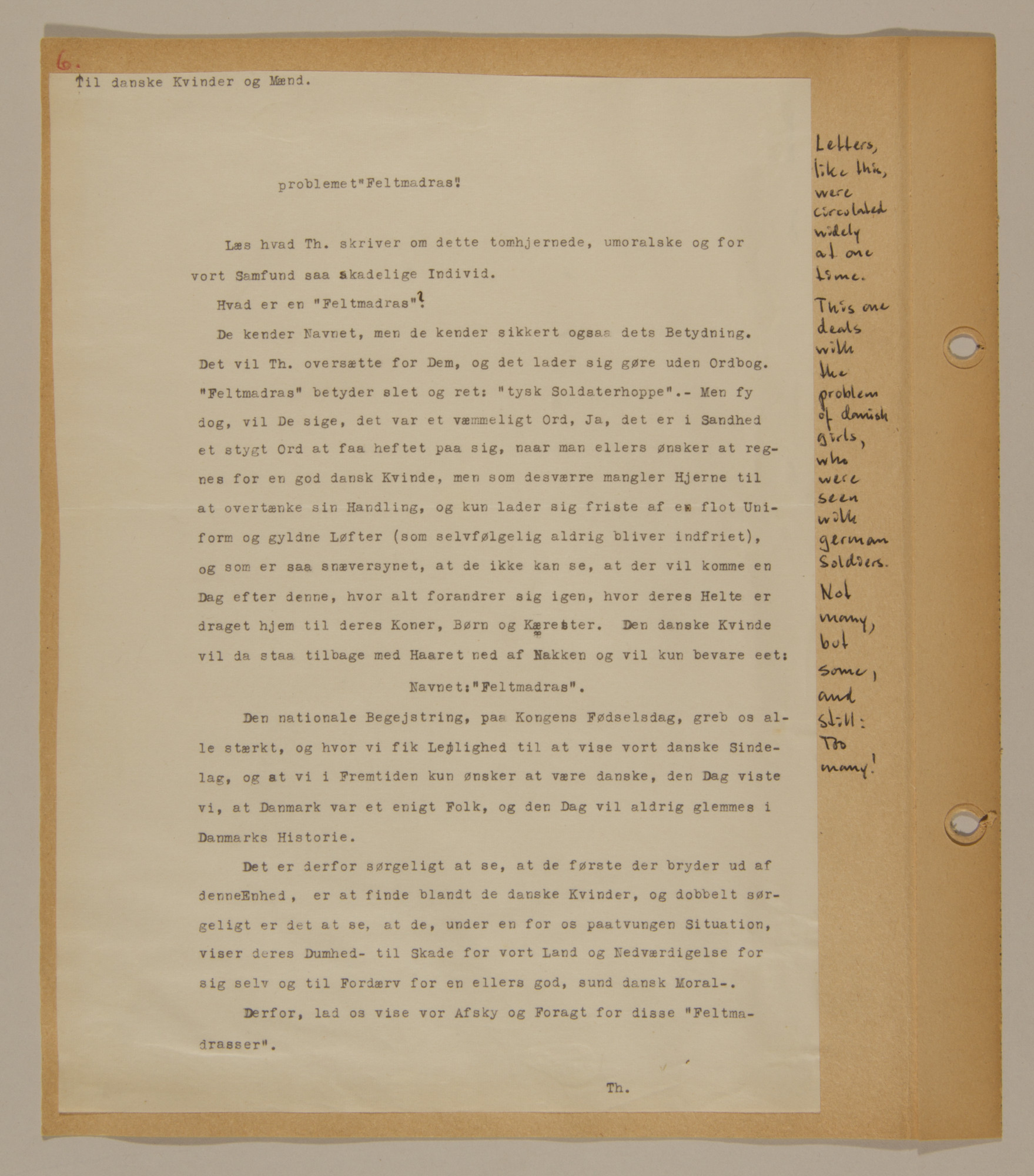 Page from volume two of a set of scrapbooks compiled by Bjorn Sibbern, a Danish policeman and resistance member, documenting the German occupation of Denmark.  This page has a letter condeming Danish girls who date German soldiers.